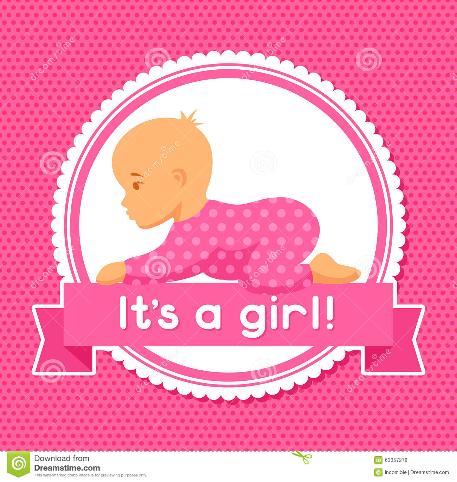 Es Ist Ein Mädchen Babyparty-Einladung Vektor Abbildung ...