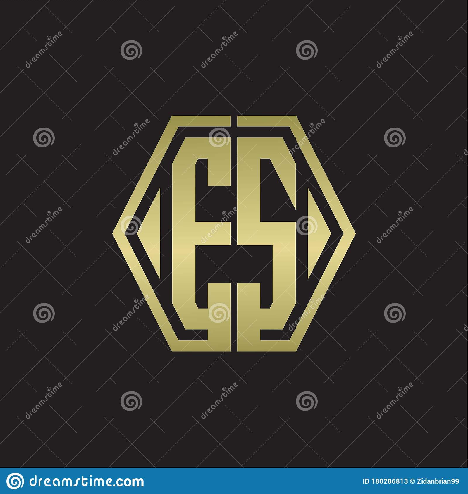 Es Logo Monogram With Hexagon Line Rounded Design Template With Gold Colors Stock Vector Illustration Of Initial Lettering 180286813