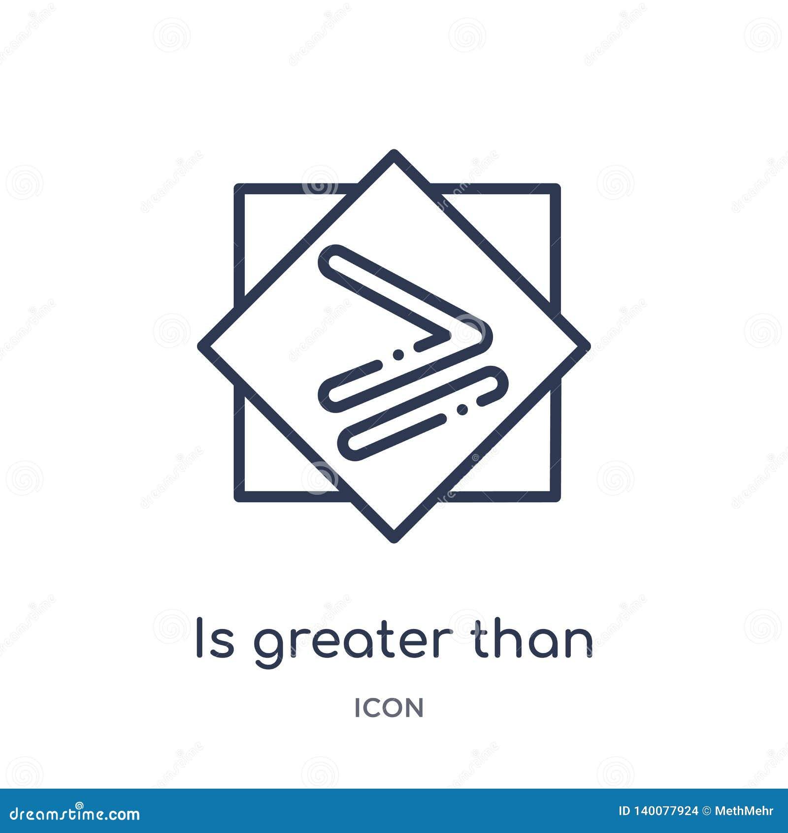 Es mayor o igual el icono de la colección del esquema de las muestras La línea fina es mayor o igual icono aislado en blanco