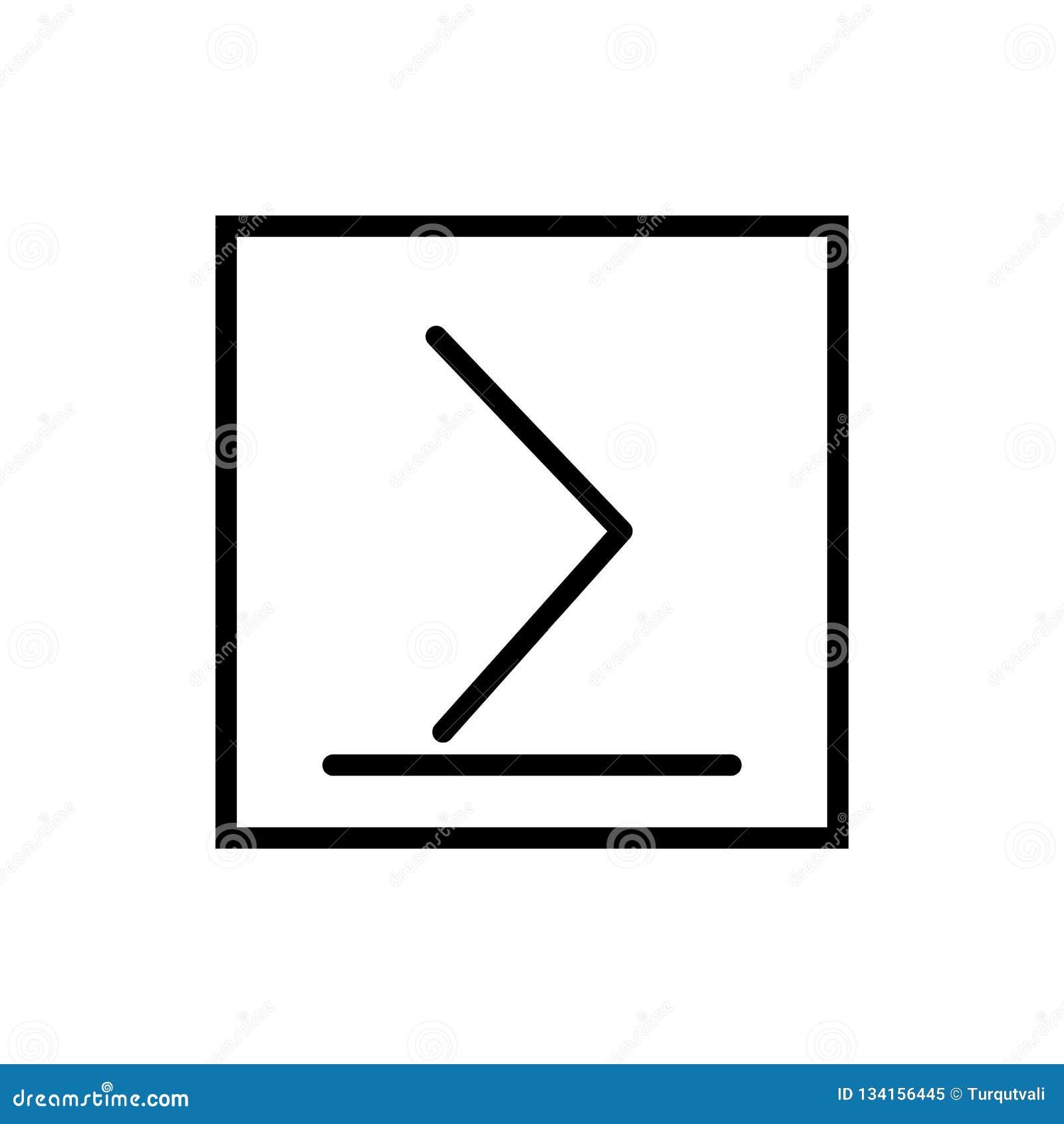 Es mayor o igual el vector del icono aislado en el fondo blanco, es mayor o igual los elementos de la muestra, de la línea y del