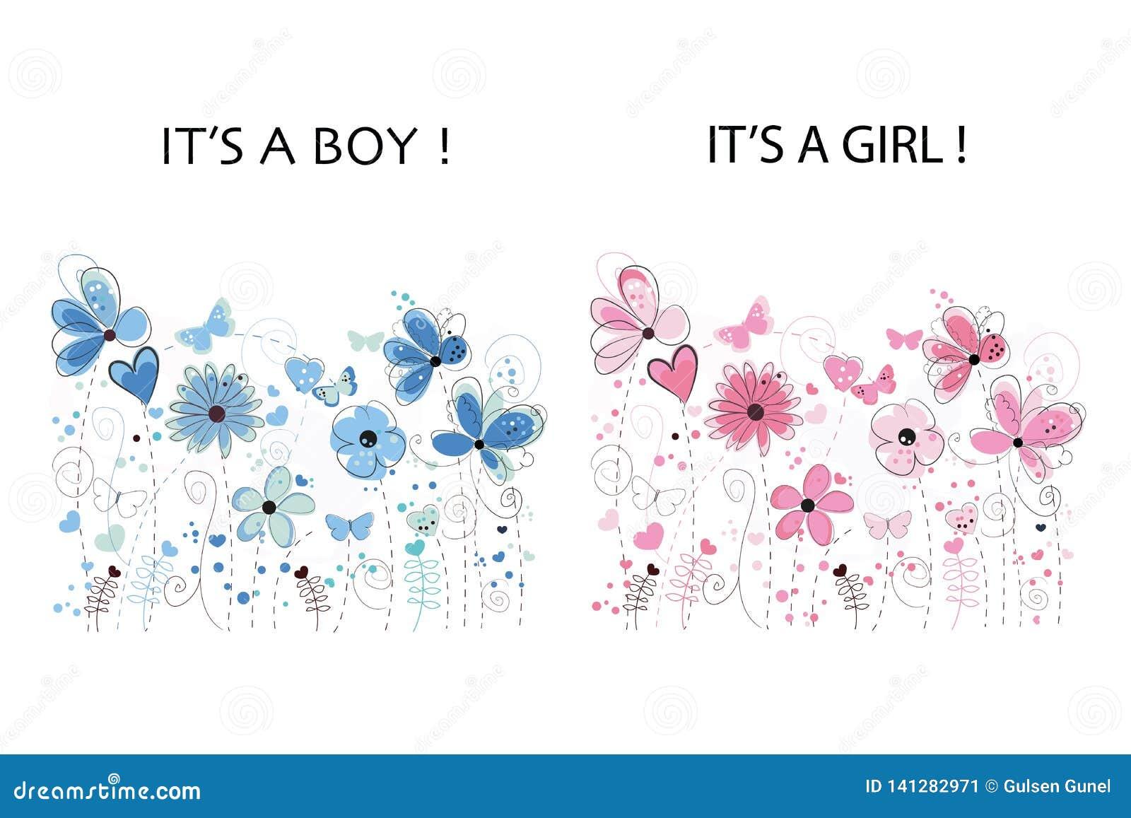 Es ` s ein Junge Es `S Babypartygrußkarte Blaue Auslegung Rosa und Blau farbige abstrakte dekorative Frühlingsblumen