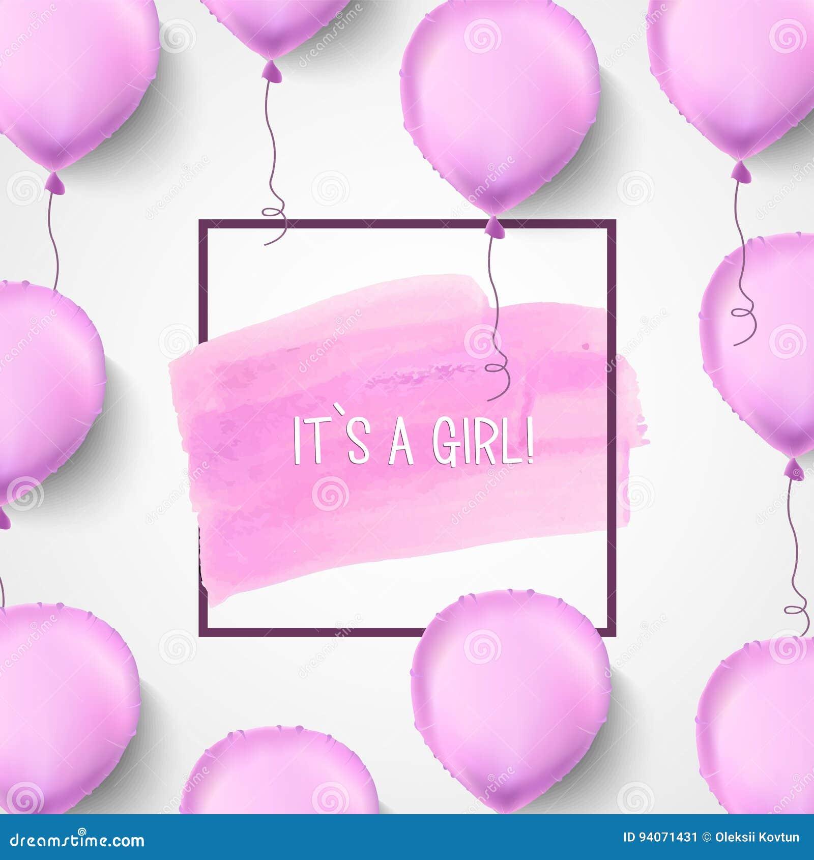 Es S Ein Mädchen Rosafarbene Ballone Auch Im Corel Abgehobenen ...