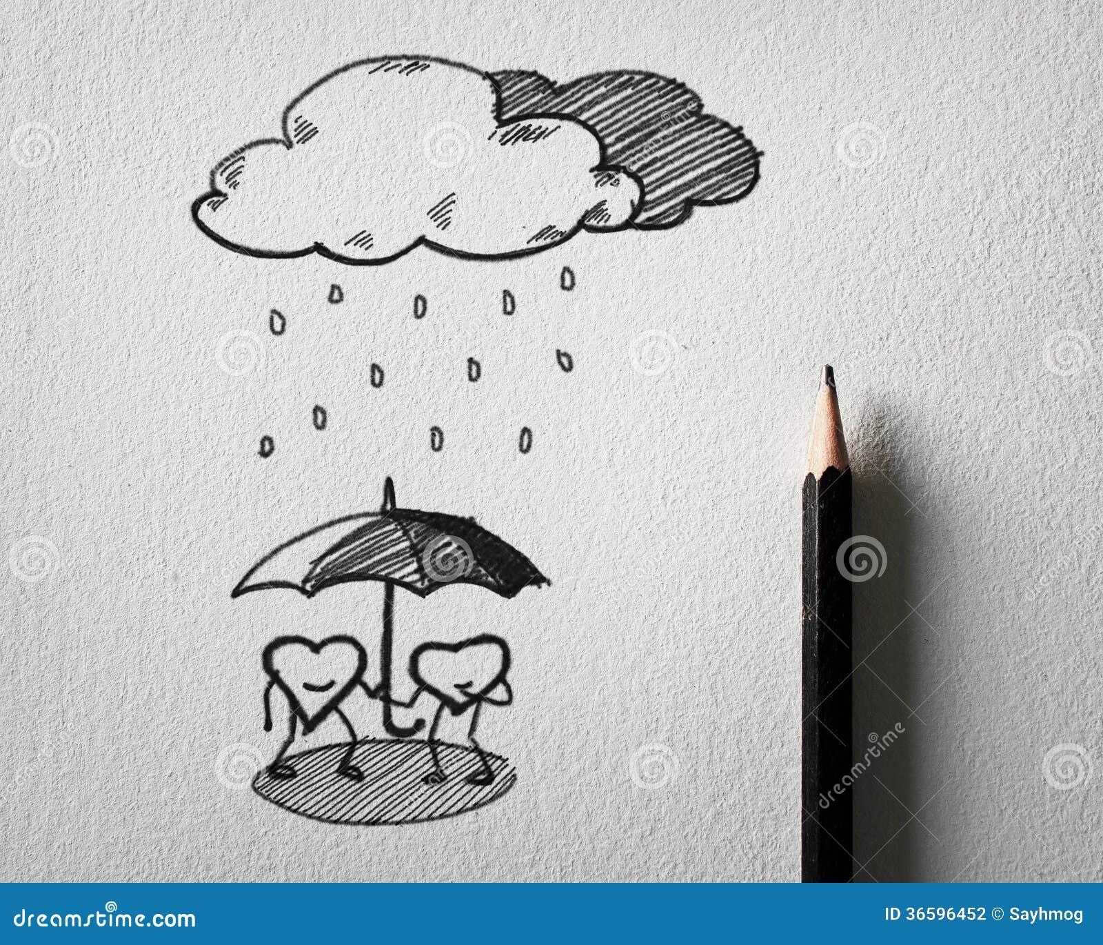 Esboçar para o coração protege o conceito da chuva