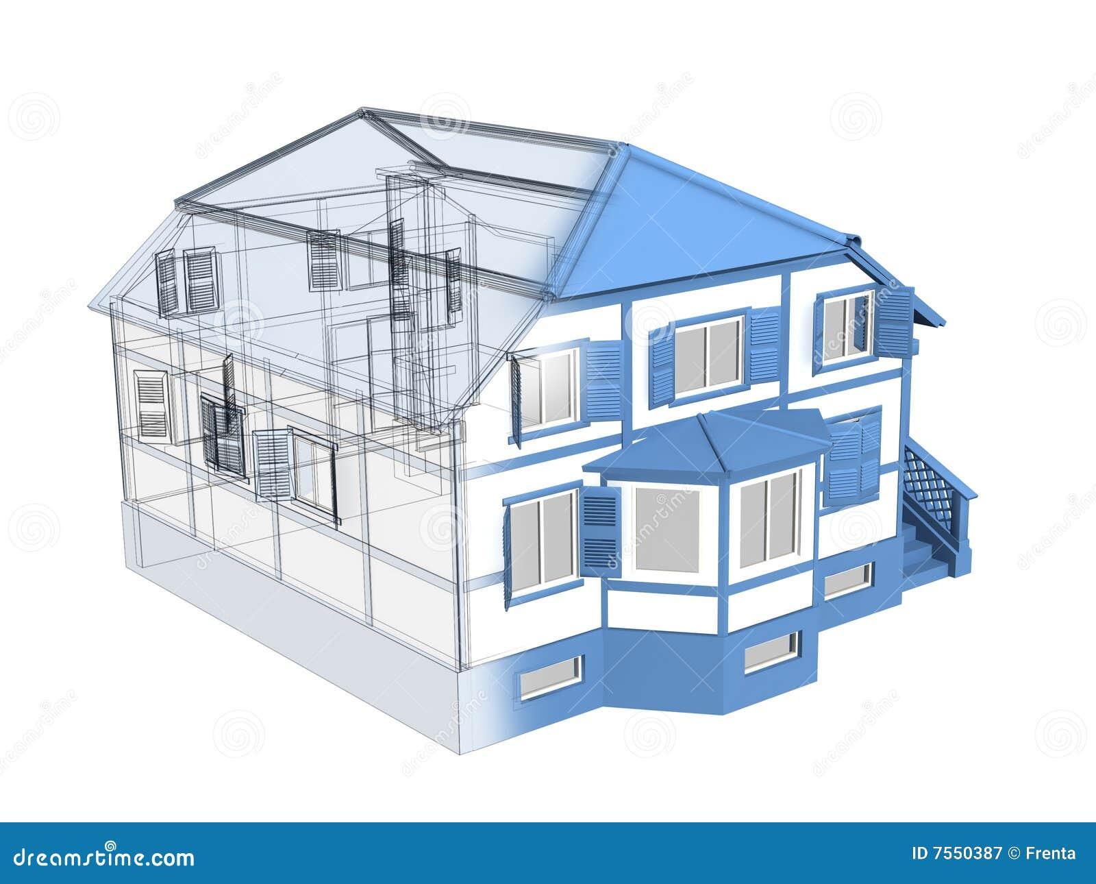 Esboço 3d de uma casa