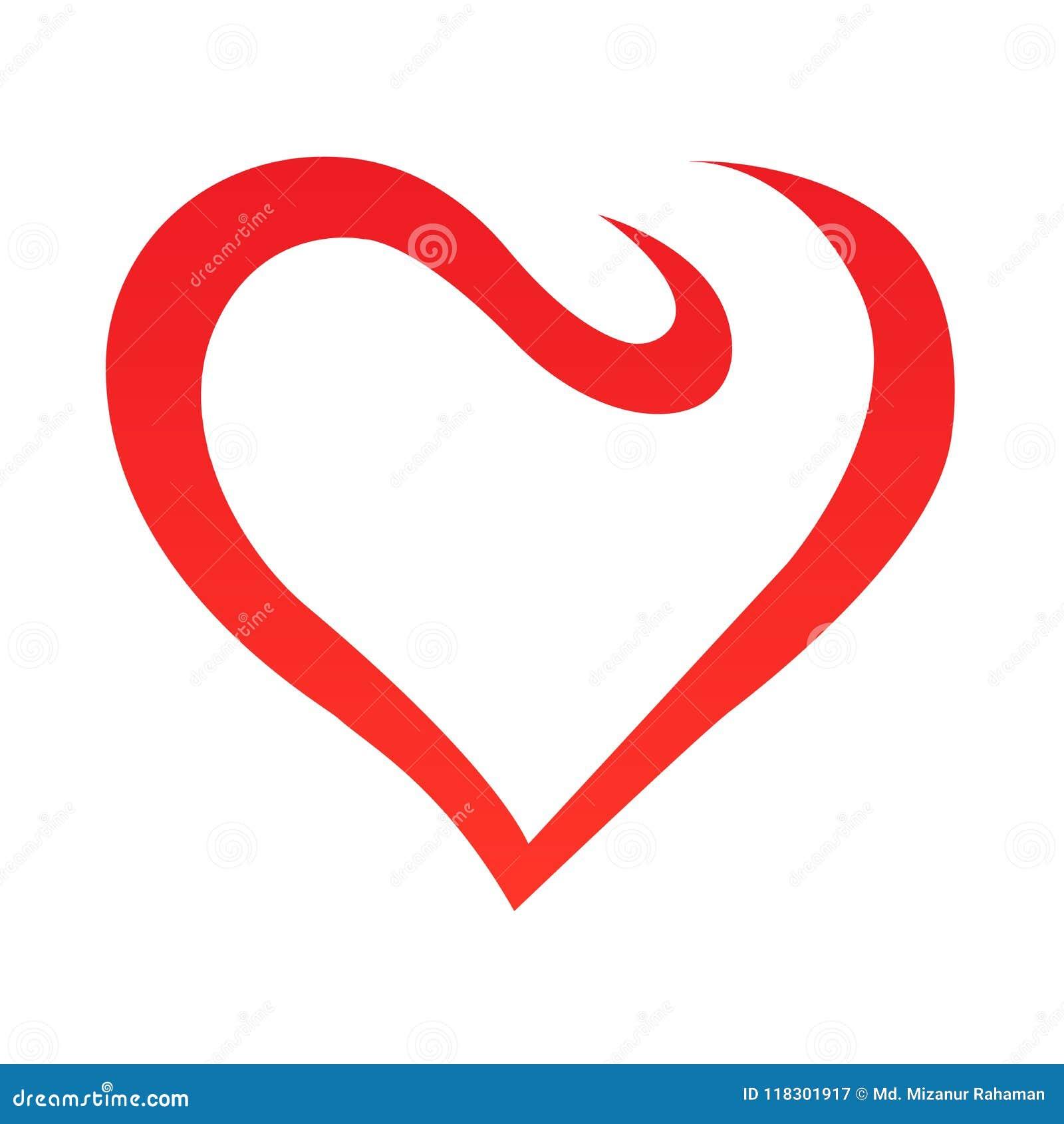 Esboço abstrato da forma do coração Ilustração do vetor Ícone vermelho do coração no estilo liso O coração como um símbolo do amo