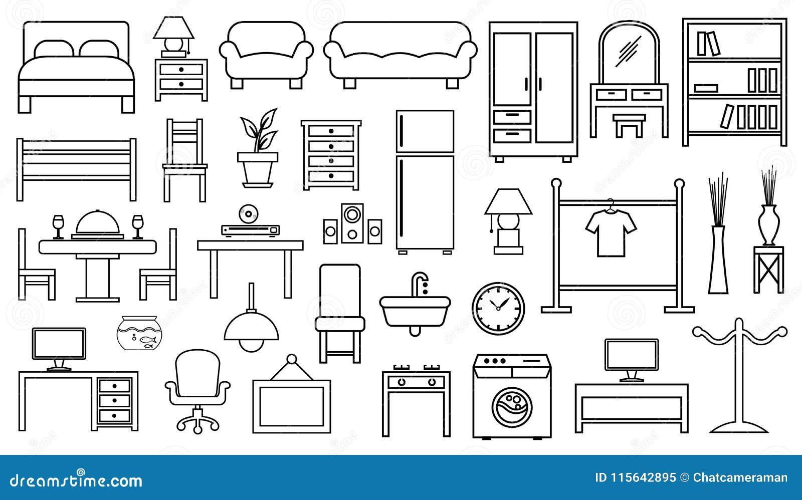 Esboço ajustado do ícone da mobília