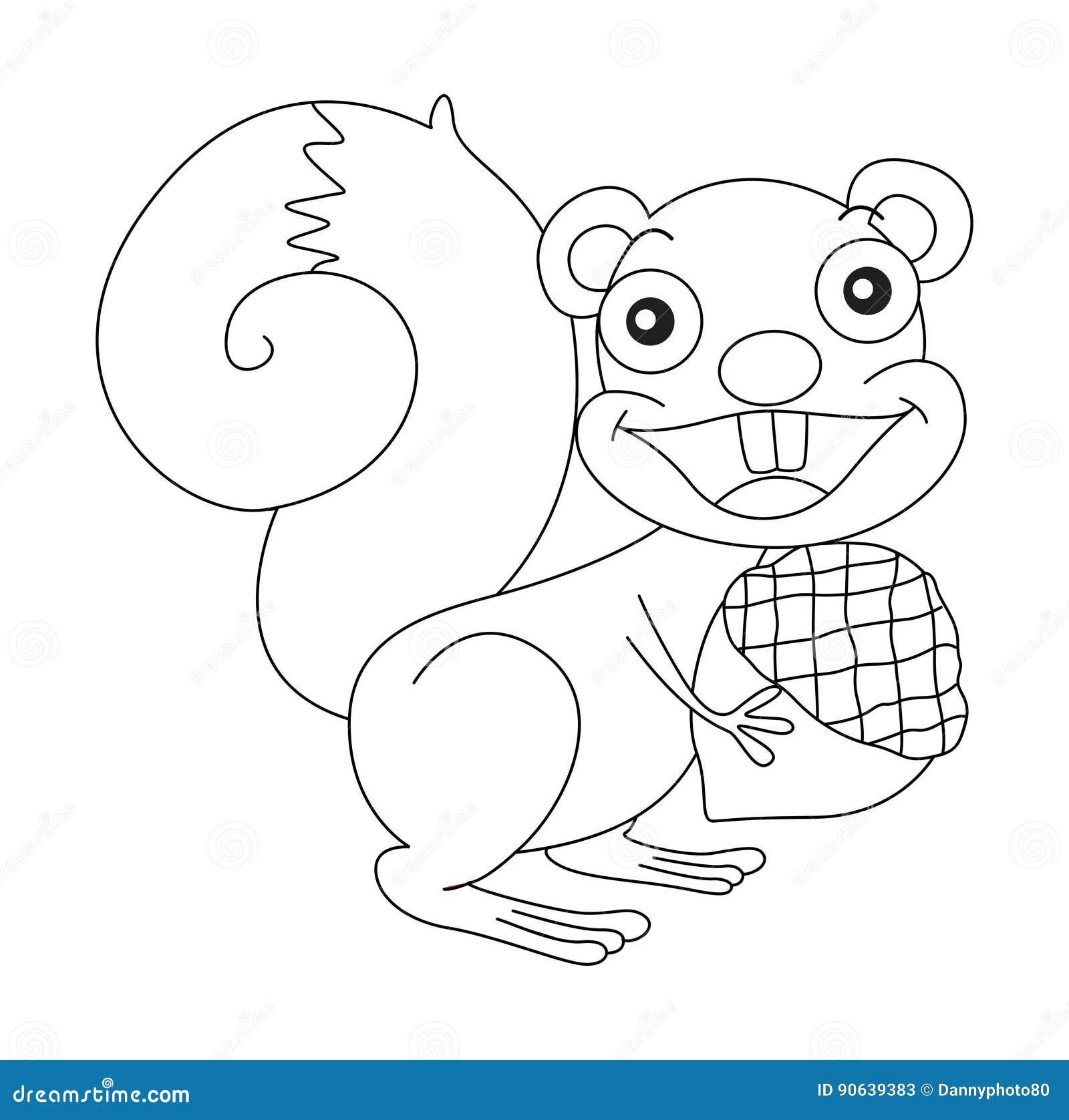 Esboço animal para o esquilo e a porca