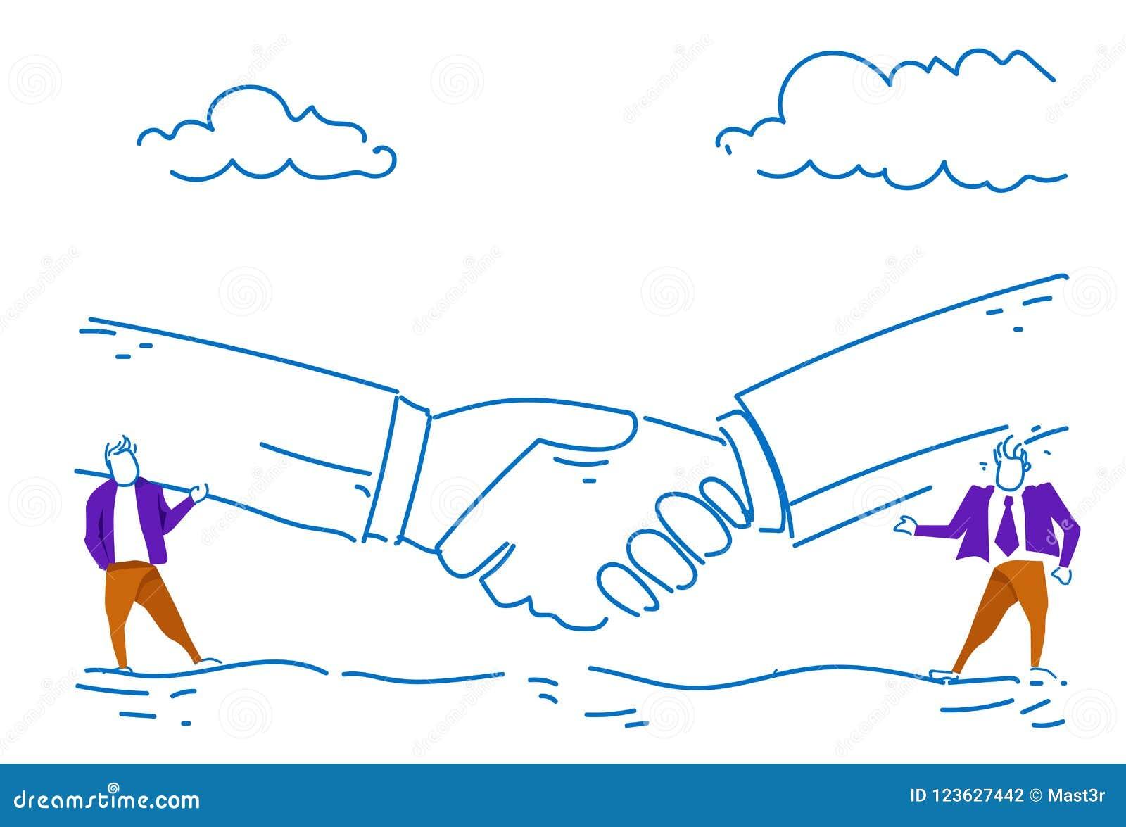 Esboço bem sucedido da conversação do fundo do aperto de mão do conceito do acordo da parceria do negócio de uma comunicação de d