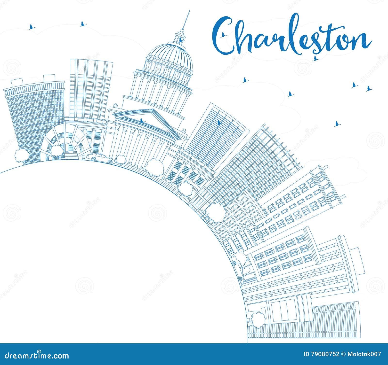 Esboço Charleston Skyline com construções e espaço azuis da cópia