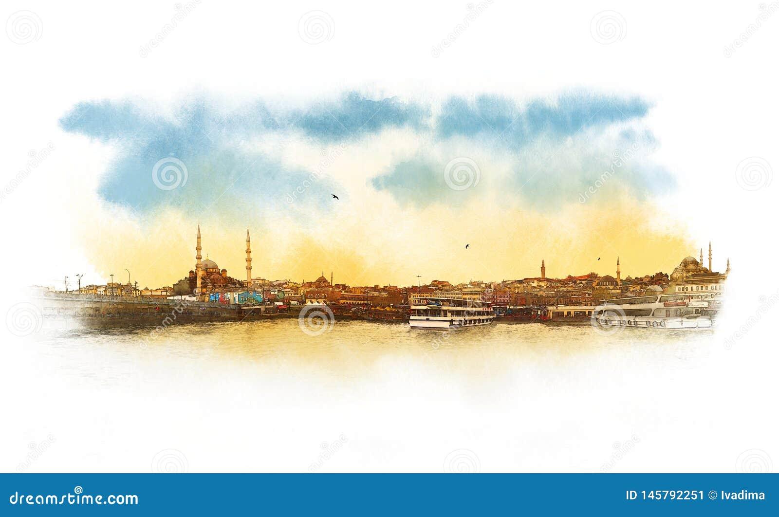 Esboço da aquarela da vista panorâmica de Istambul, Turquia