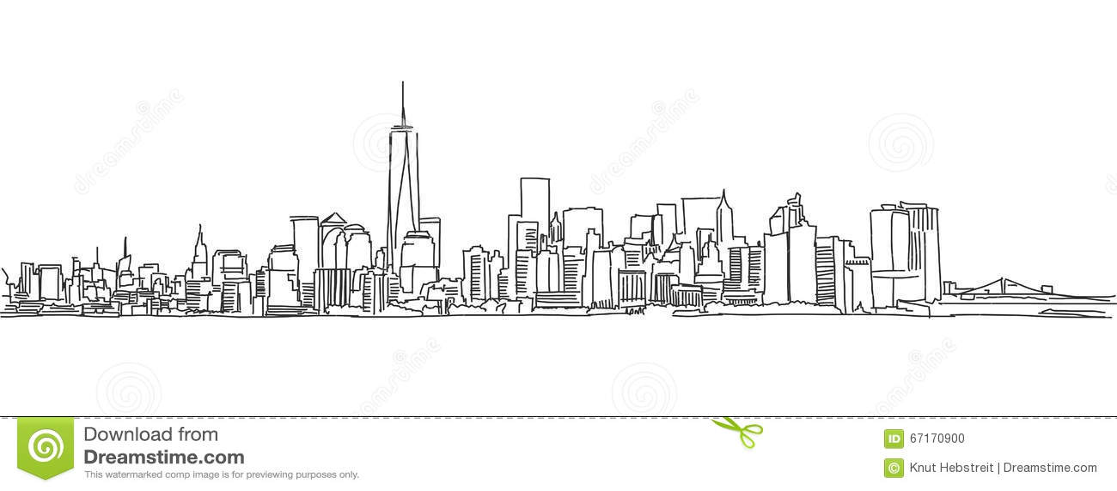 Esboço da carta branca da skyline de New York City Garrancho do vetor
