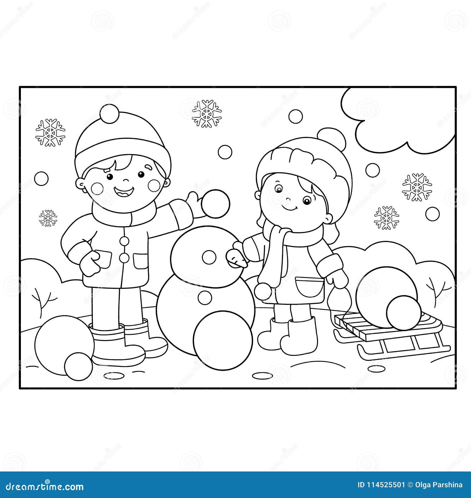 Esboco Da Pagina Da Coloracao Do Menino Dos Desenhos Animados Com