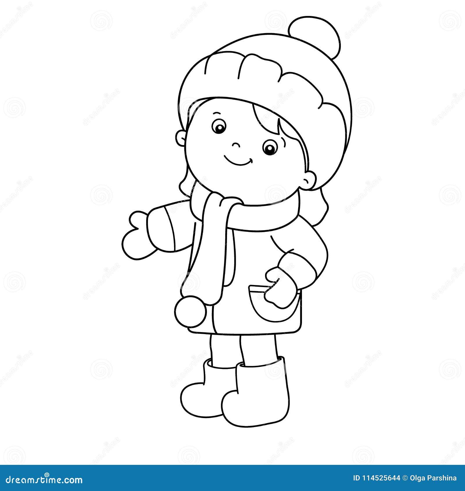 esbo u00e7o da p u00e1gina da colora u00e7 u00e3o da menina dos desenhos animados inverno livro para colorir para