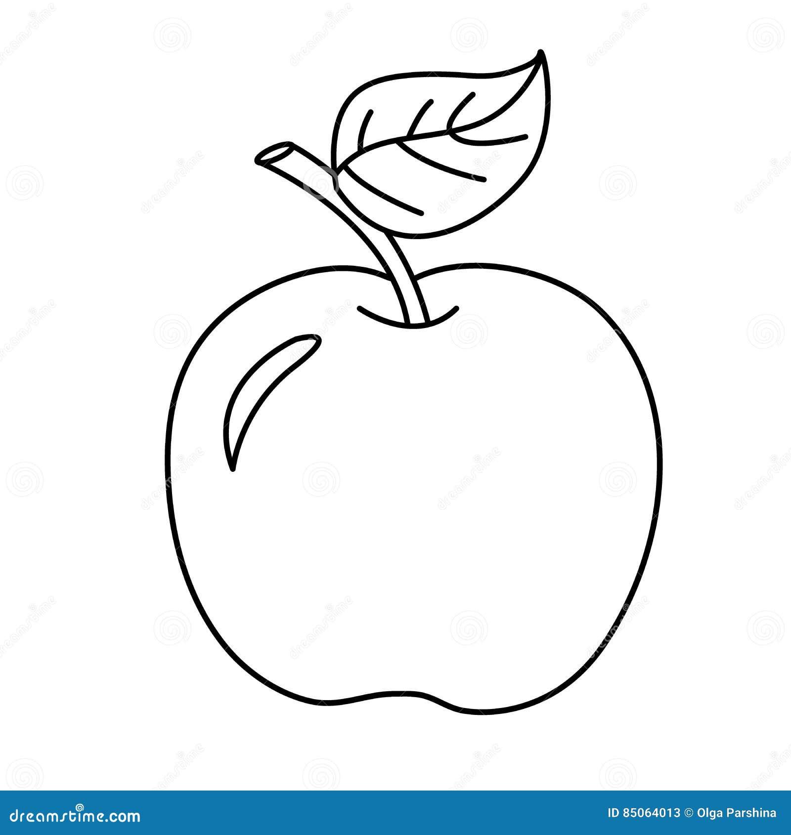 Esboco Da Pagina Da Coloracao Da Maca Dos Desenhos Animados Frutas