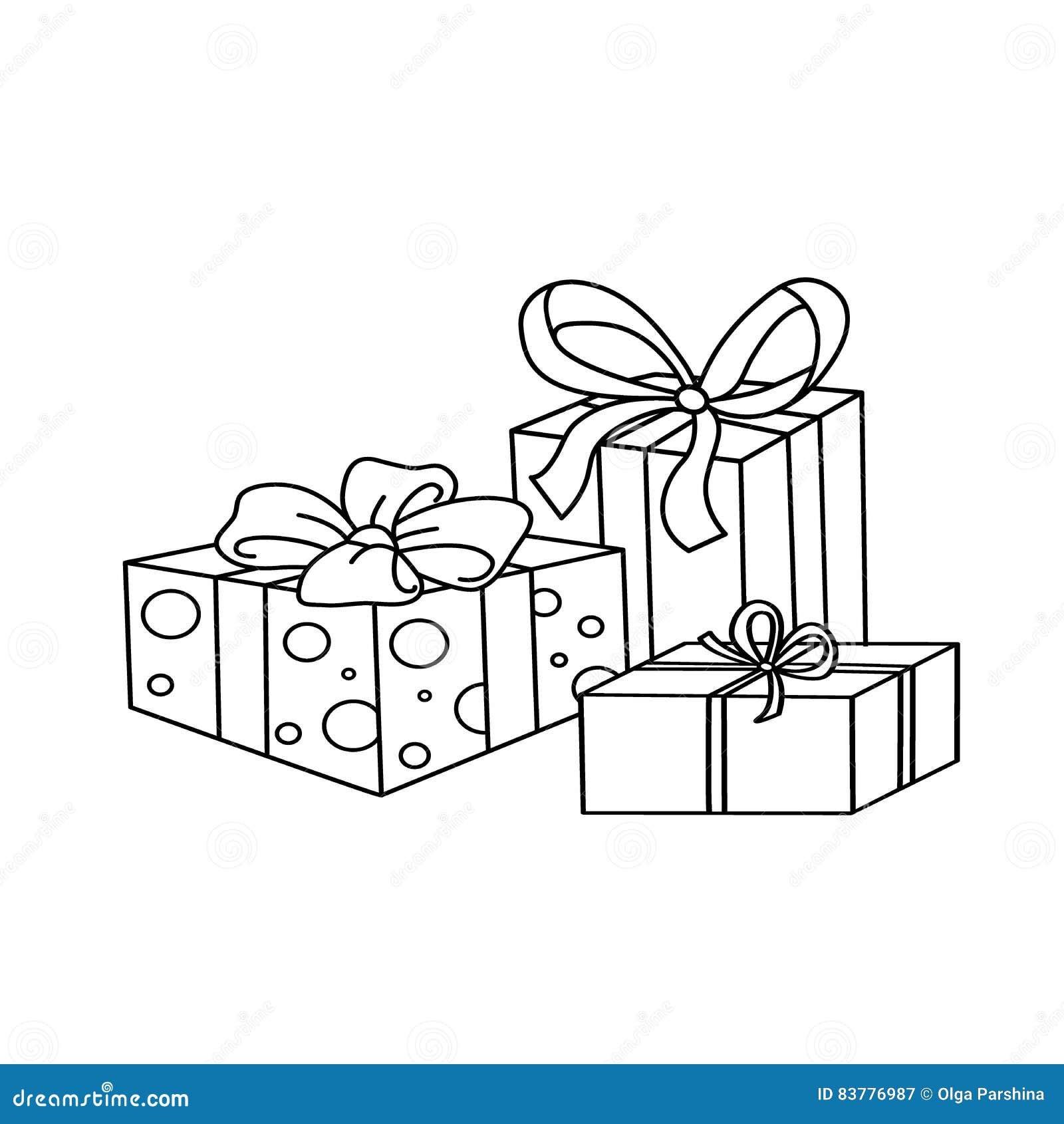 Esboço da página da coloração de presentes de época natalícia dos desenhos animados