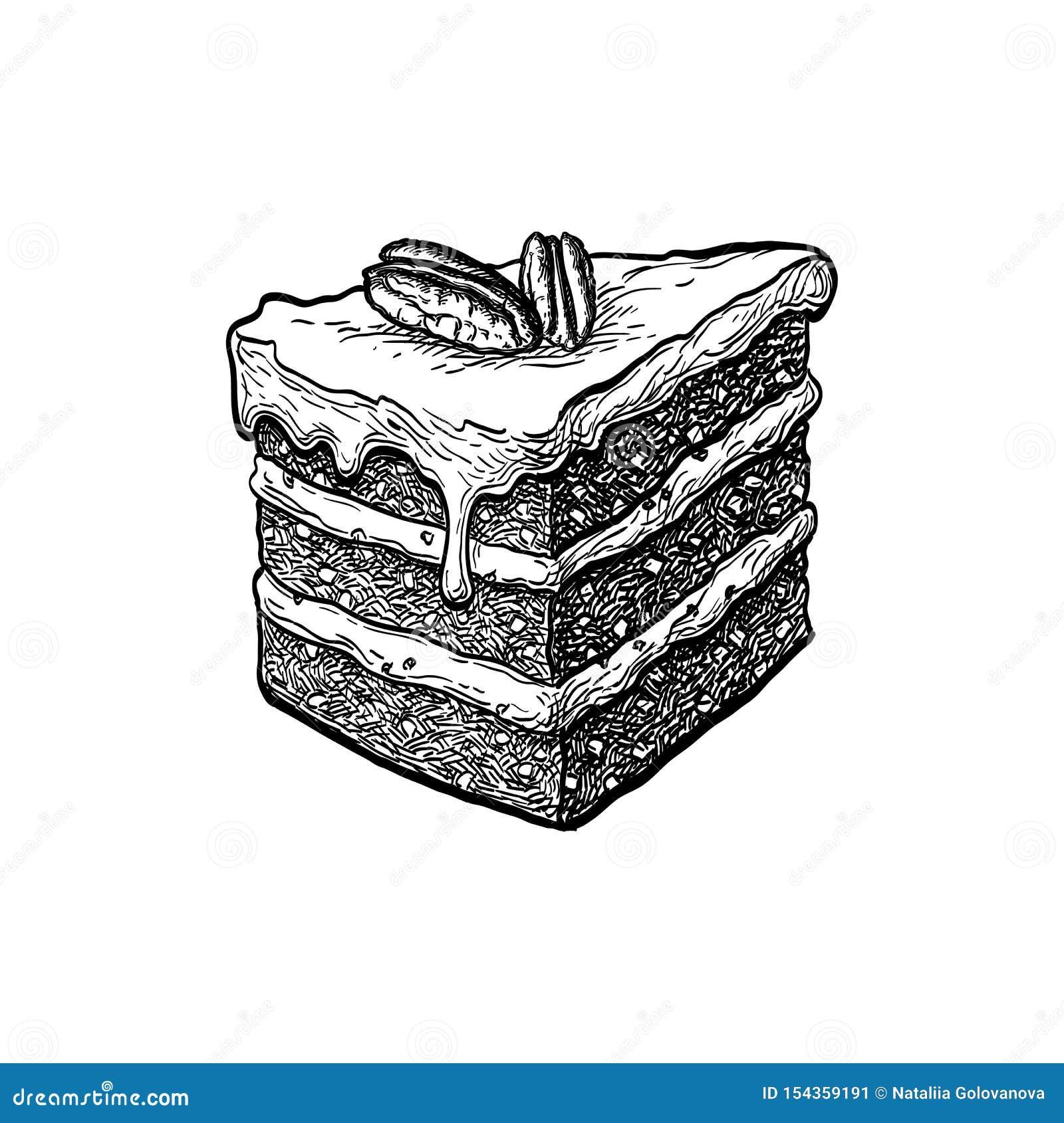 Esboço da tinta do bolo de cenoura