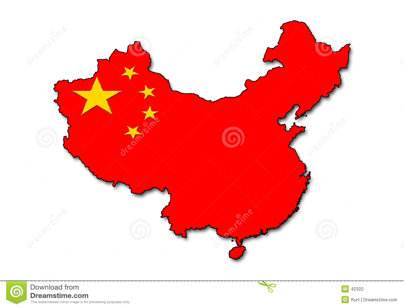 Esboço de China com bandeira