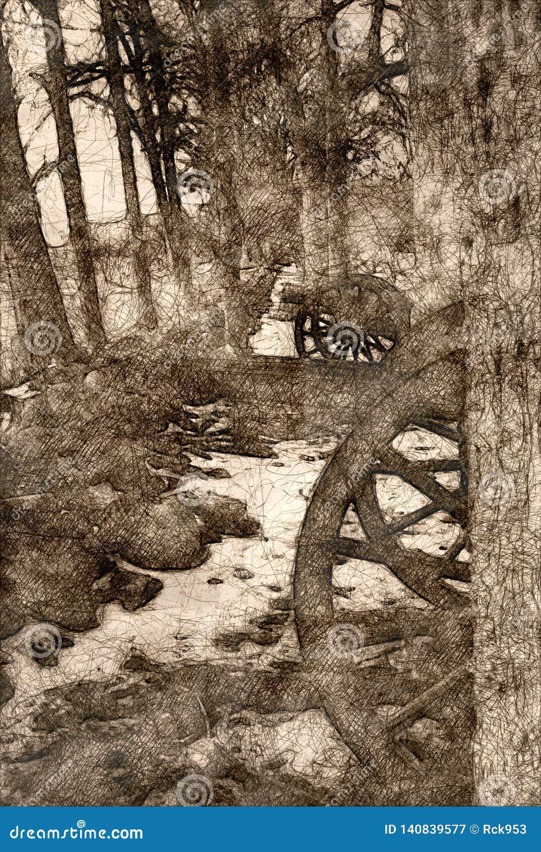 Esboço de um canhão americano da guerra civil escondido nas árvores
