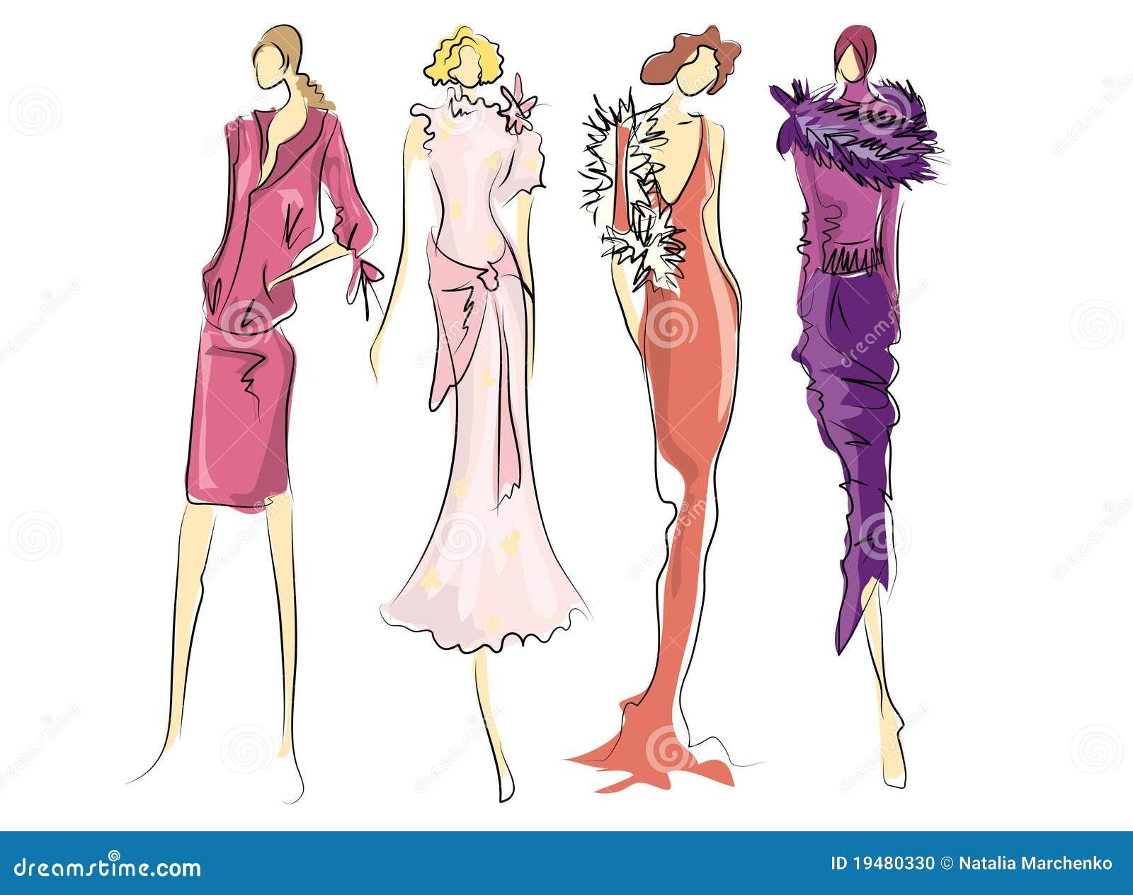 Esboço de vestidos da forma
