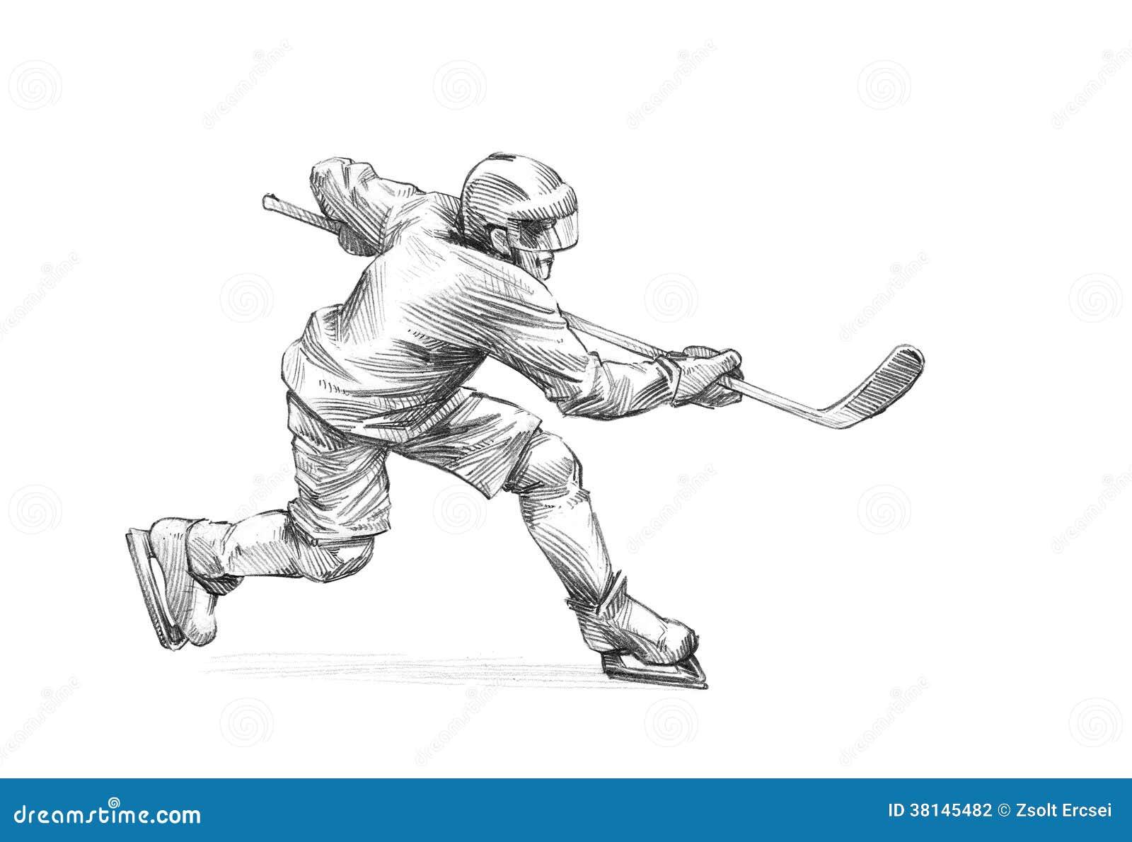 Esboço desenhado à mão, ilustração do lápis de um jogador de hóquei em gelo