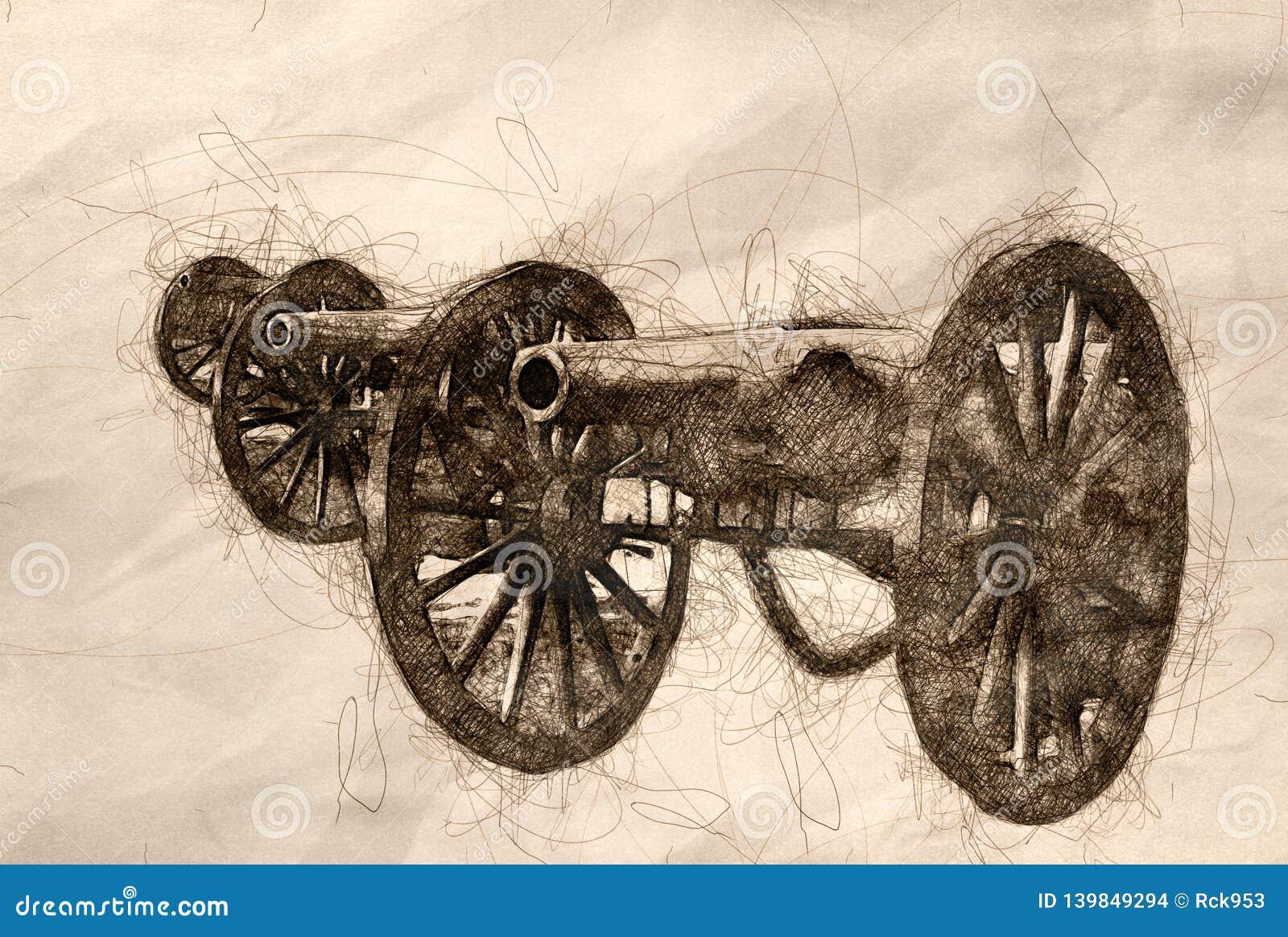 Esboço do canhão americano da guerra três civil