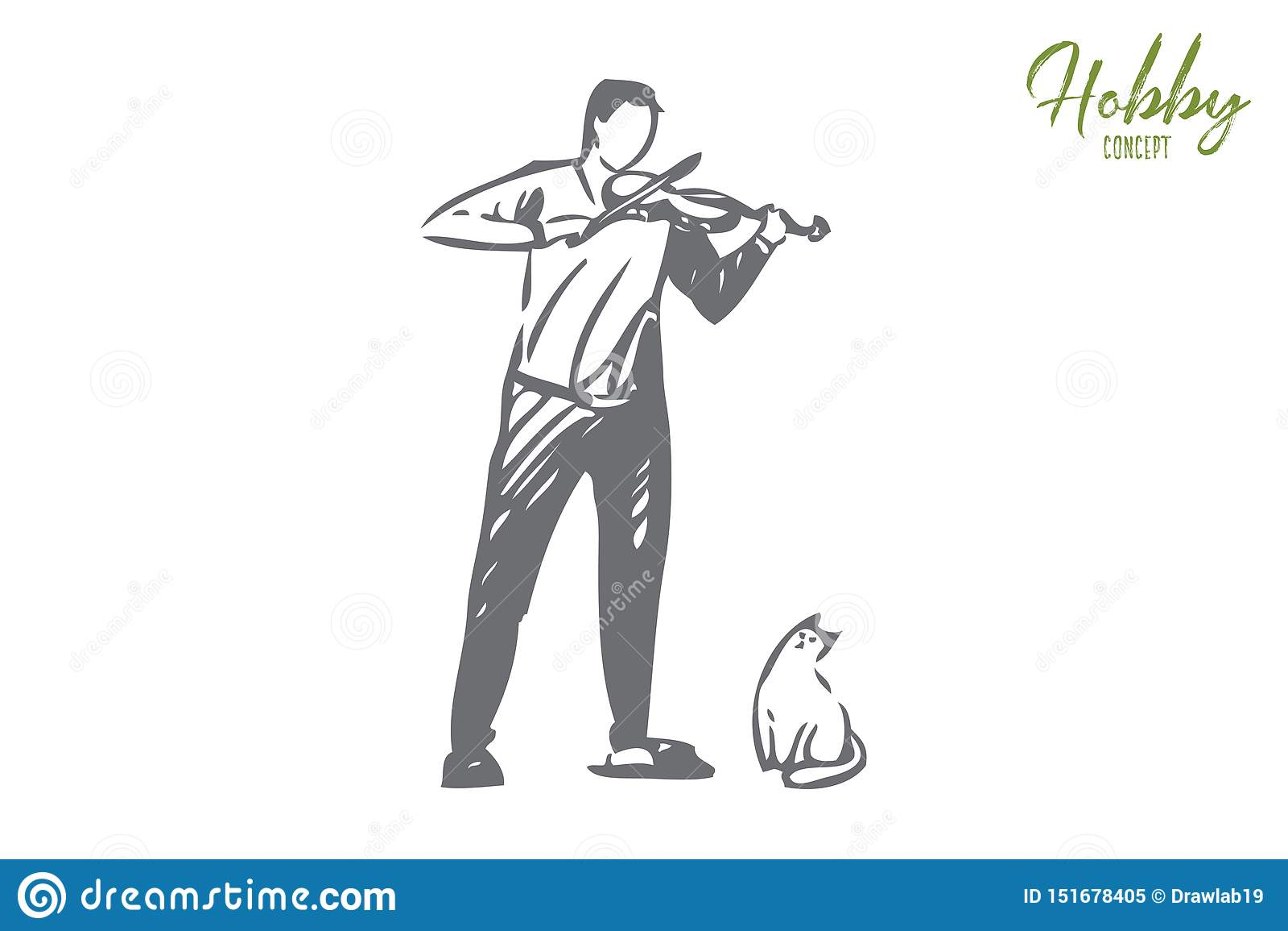 Esboço do conceito do violinista Ilustra??o isolada do vetor