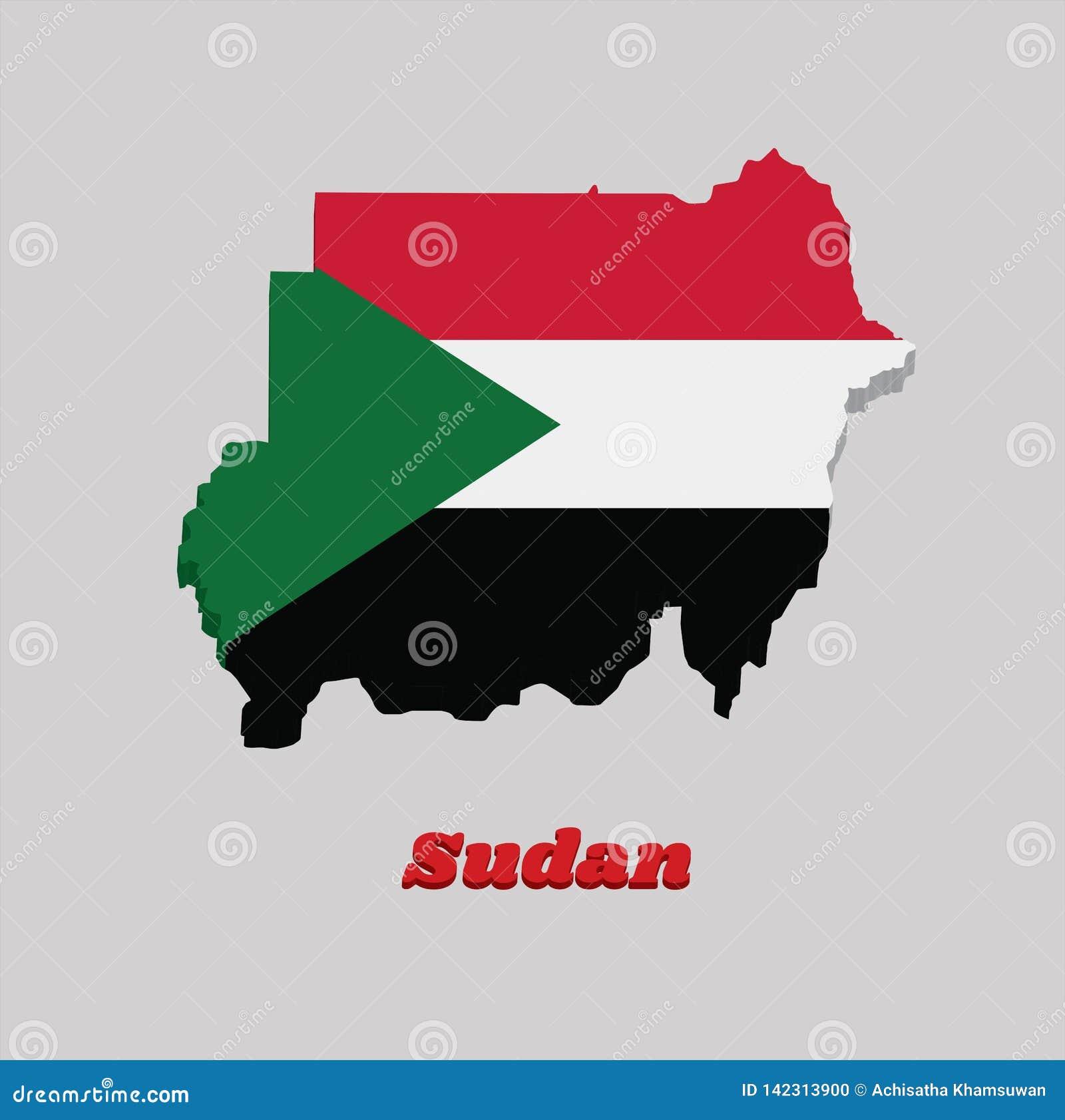 Esboço do mapa 3d e bandeira de Sudão, um tricolor horizontal de vermelho, de branco, e de preto; com um triângulo verde baseado