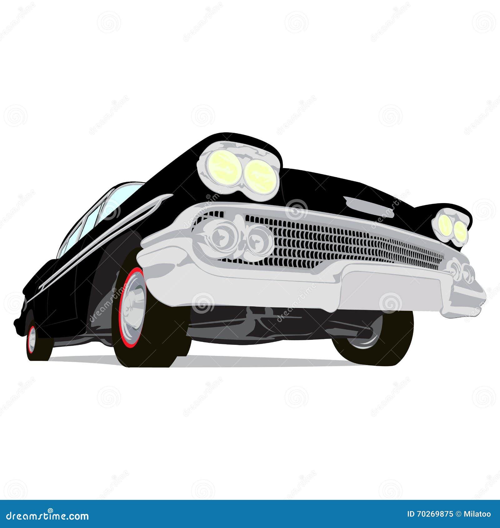 Esboco Dos Desenhos Animados Dos Carros Do Musculo Do Vintage