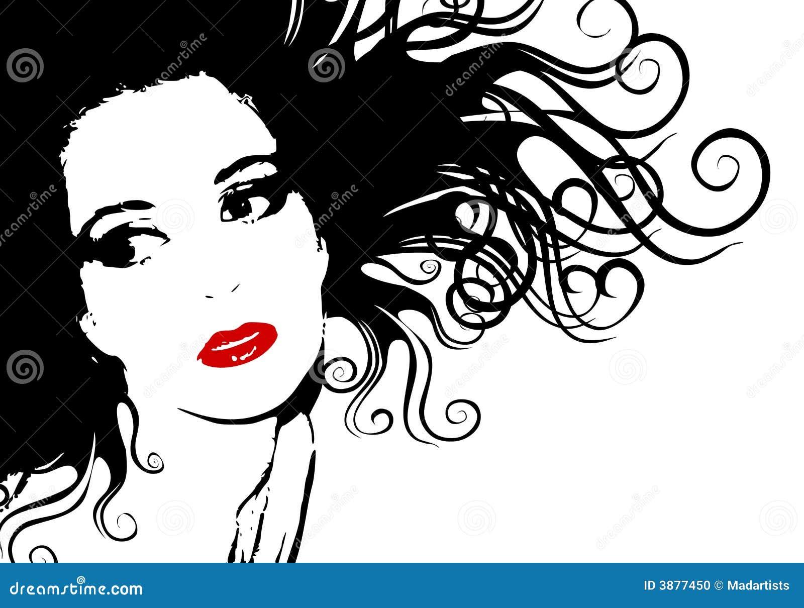 Esboço fêmea preto e branco da silhueta da face