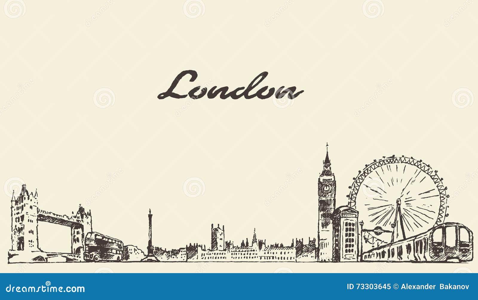 Esboço gravado tirado mão do vetor da skyline de Londres