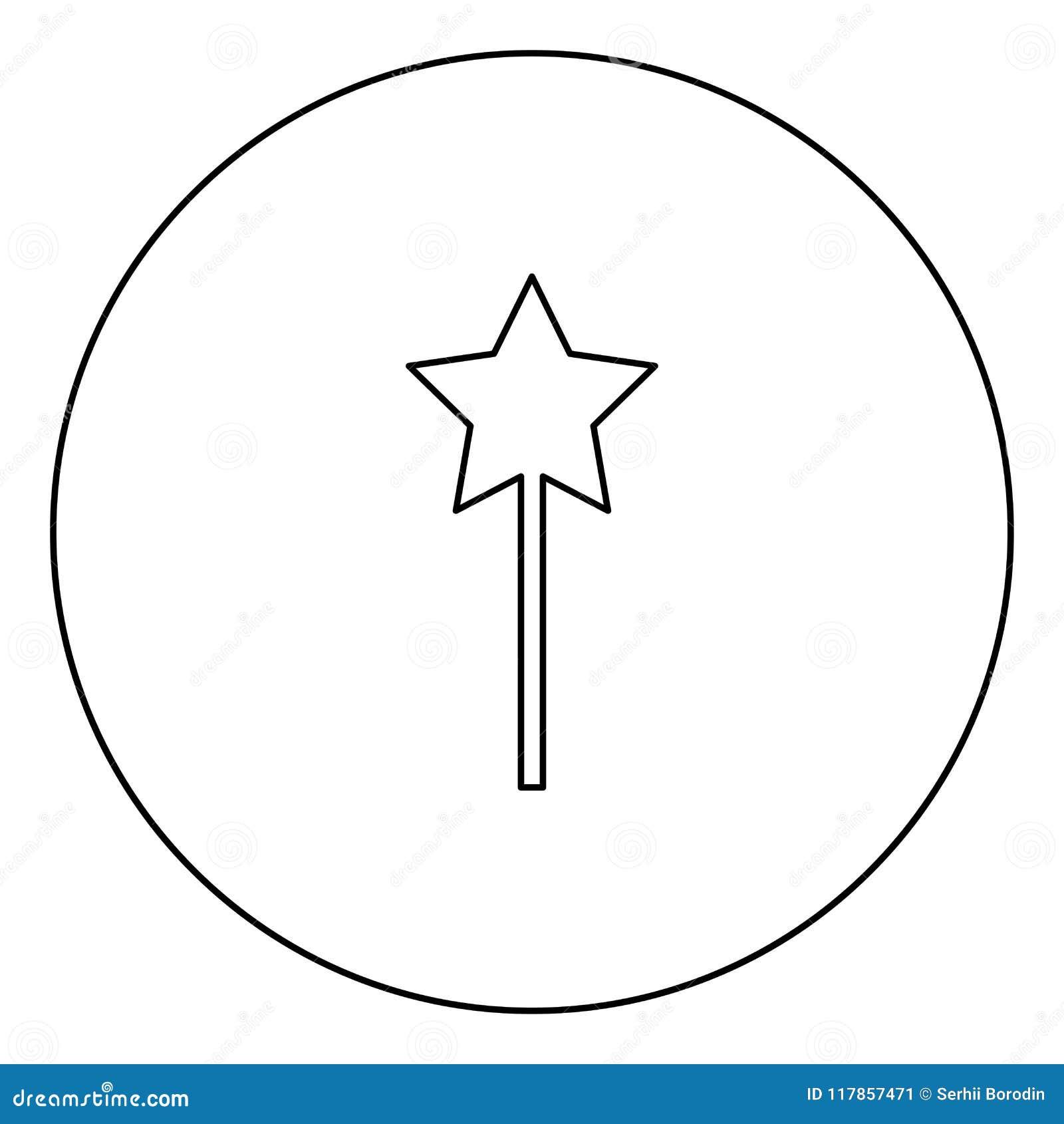 Esboço mágico do ícone do preto da varinha na imagem do círculo