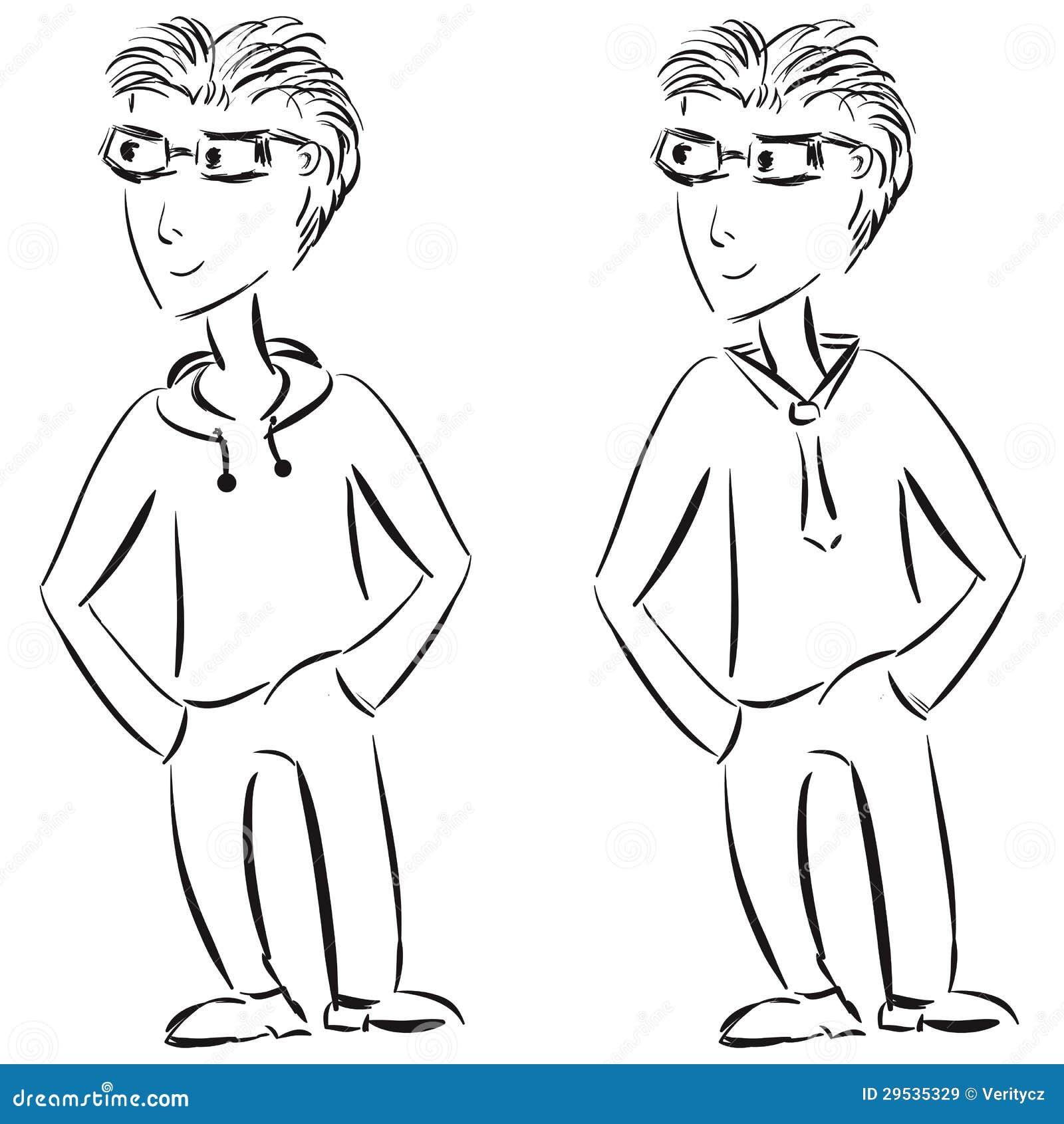 Esboço ocasional e formal novo do caráter masculino