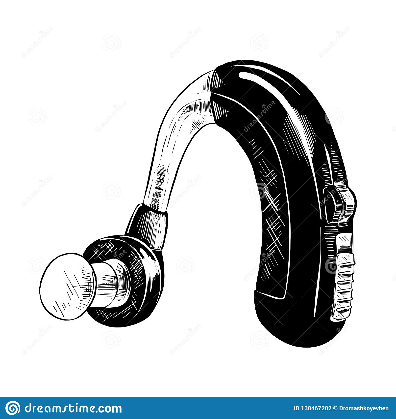 Esboço tirado mão da prótese auditiva no preto isolada no fundo branco Desenho detalhado do estilo gravura a água-forte do vintag