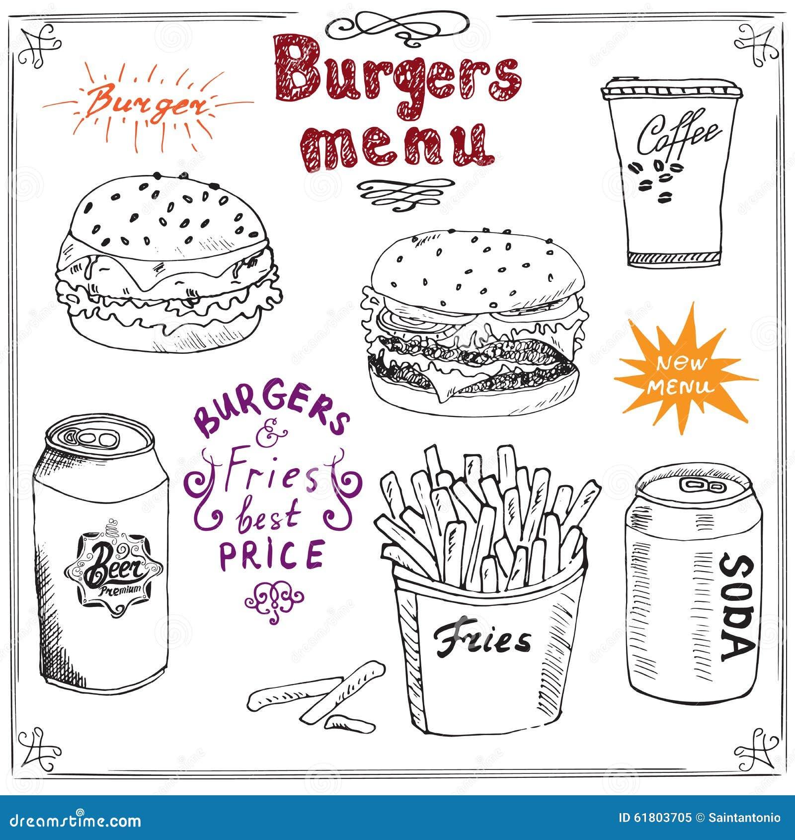 Esboço tirado mão do menu do hamburguer Cartaz do Fastfood com Hamburger, cheeseburger, varas da batata, lata de soda, caneca de