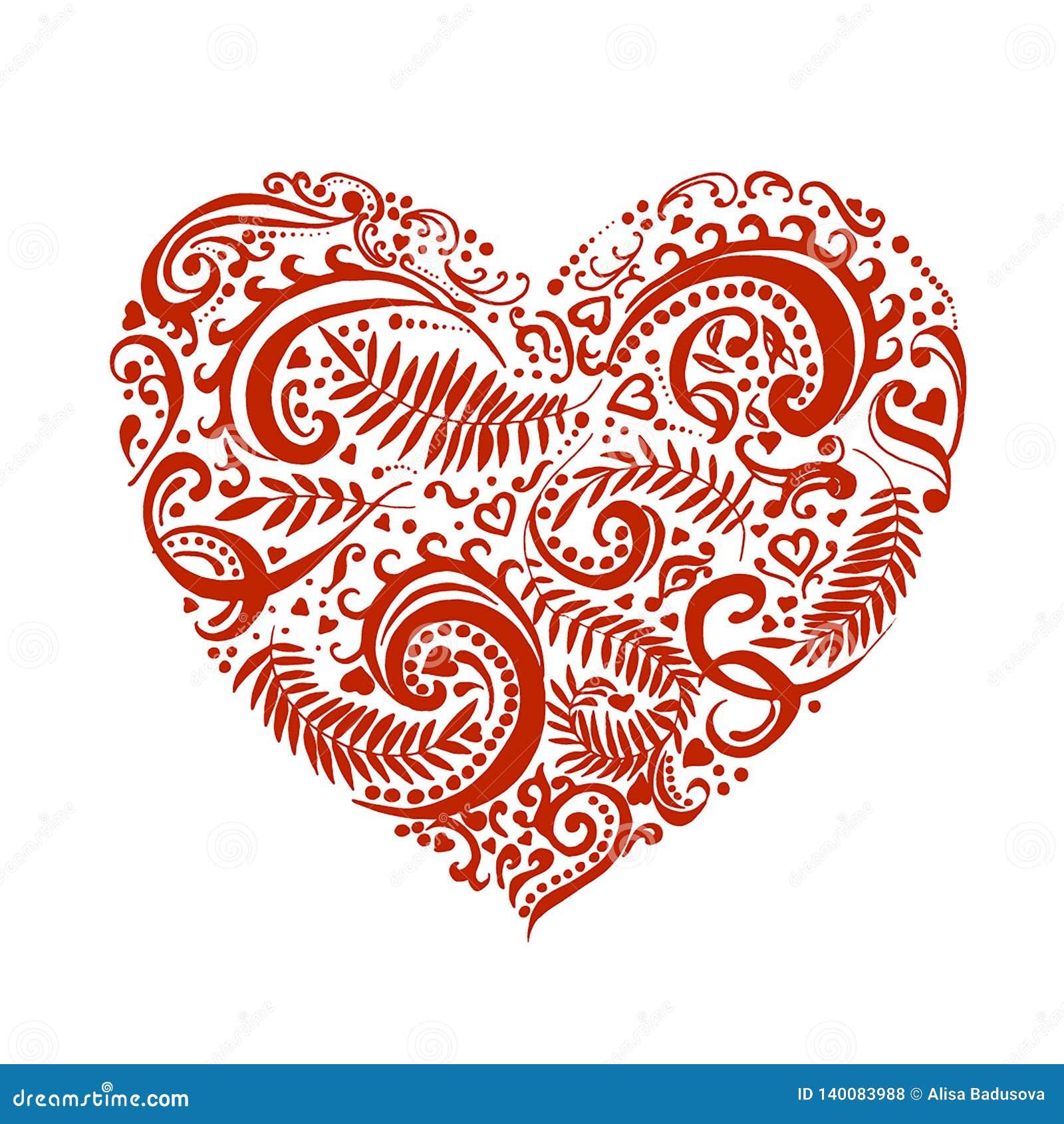 Esboço tirado mão do vetor do coração com ilustração dos ornamento no fundo branco