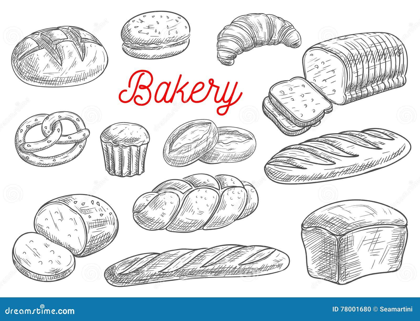 Esboços do vetor dos produtos do pão e da padaria