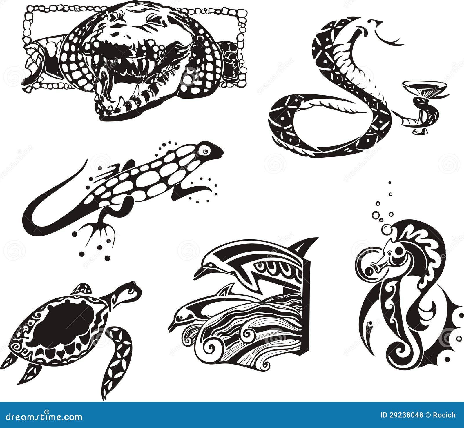Download Esboços Dos Répteis E Dos Animais De Mar Ilustração do Vetor - Ilustração de wildlife, decorativo: 29238048