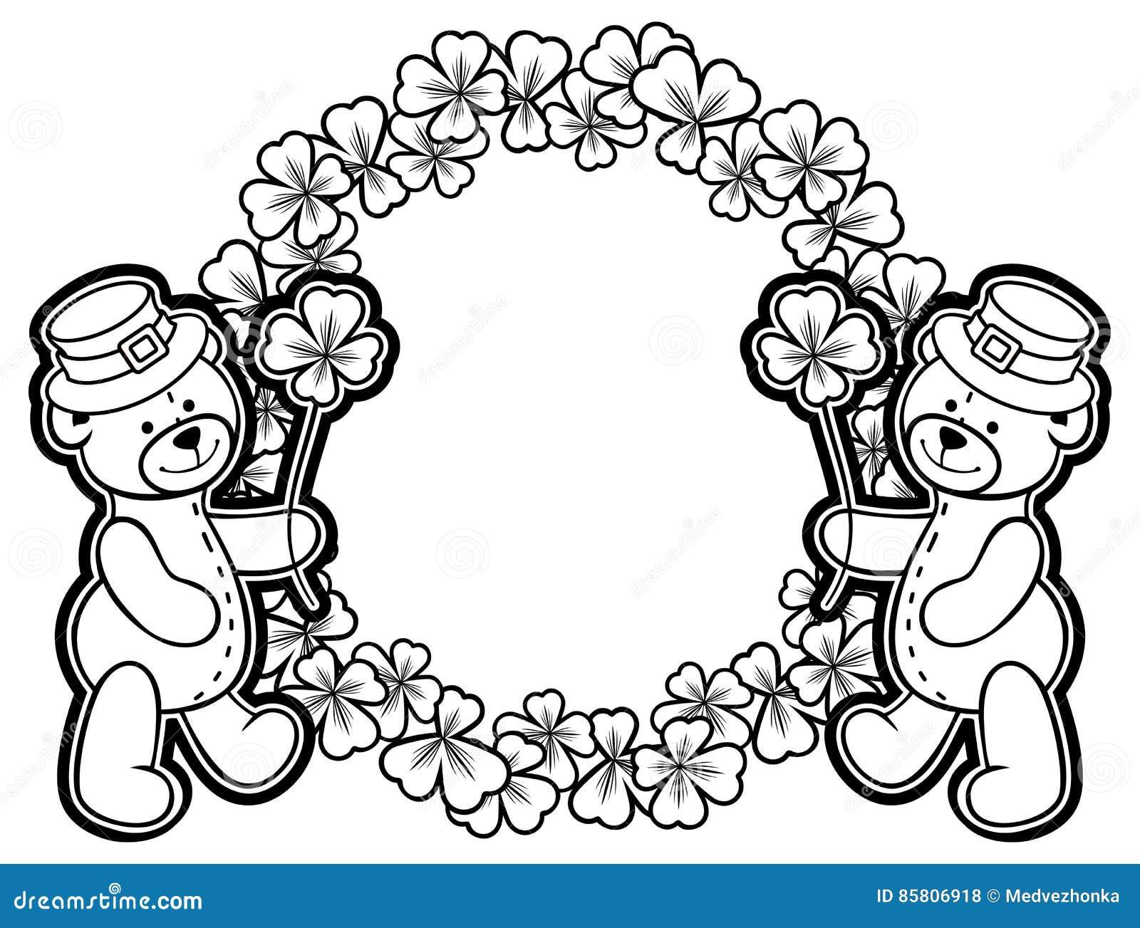 Esboce em volta do quadro com contorno do trevo e urso de peluche quadriculação
