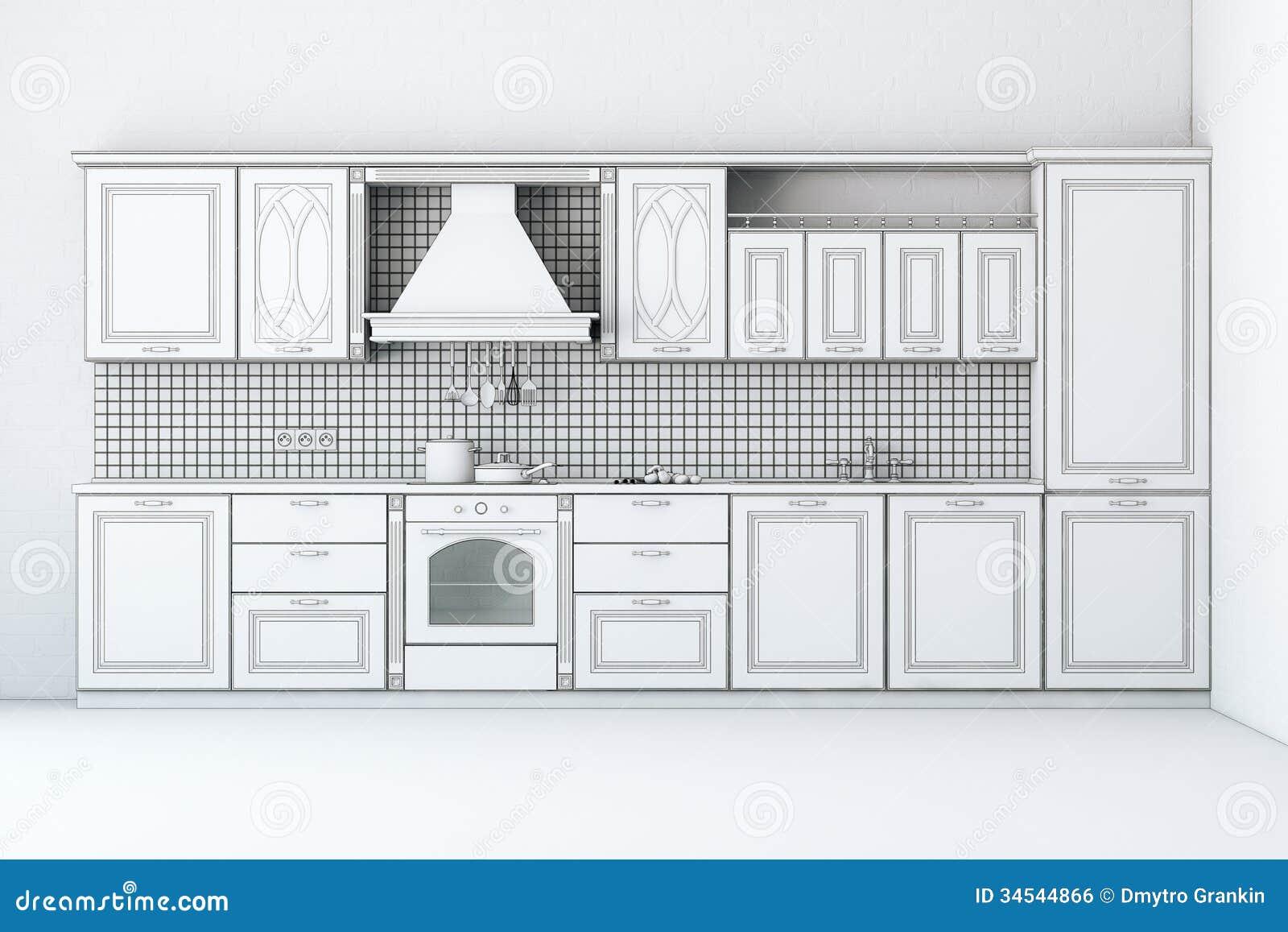 #83A625 Imagem de Stock Royalty Free: Esboço áspero do armário de cozinha  1300x957 px Planos De Armários De Cozinha_993 Imagens