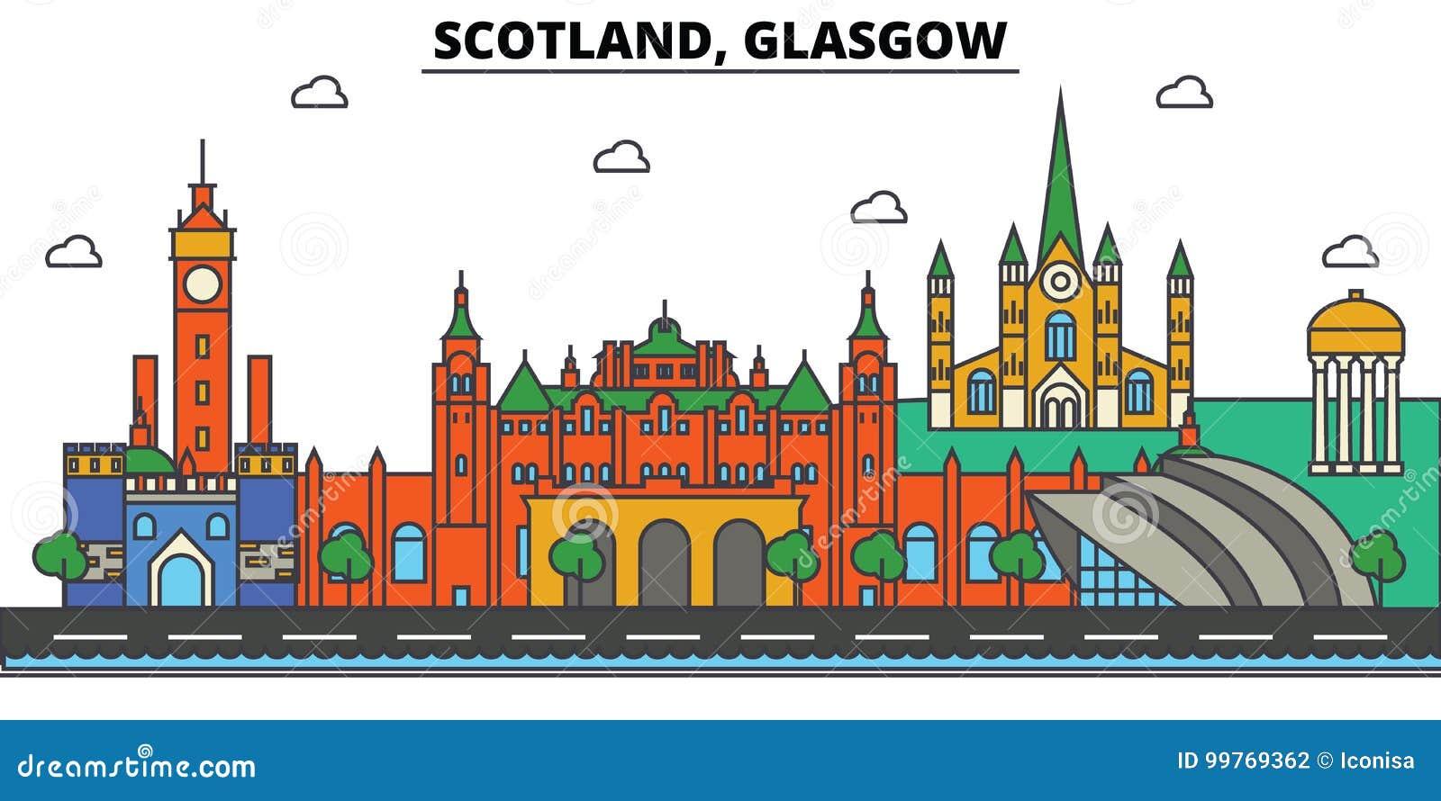 Escócia, Glasgow Arquitetura da skyline da cidade editable