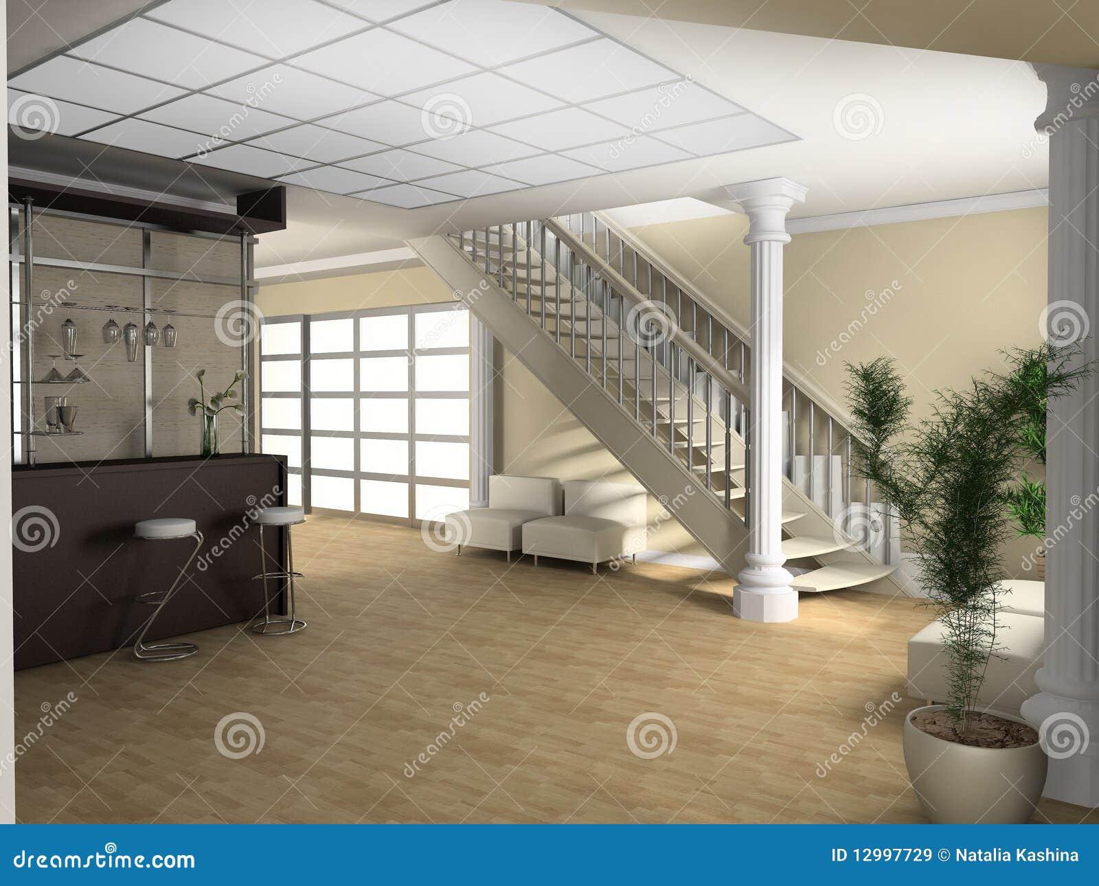 Sala De Estar Com Escada ~ Escada Em Uma Sala De Estar Imagens de Stock Royalty Free  Imagem