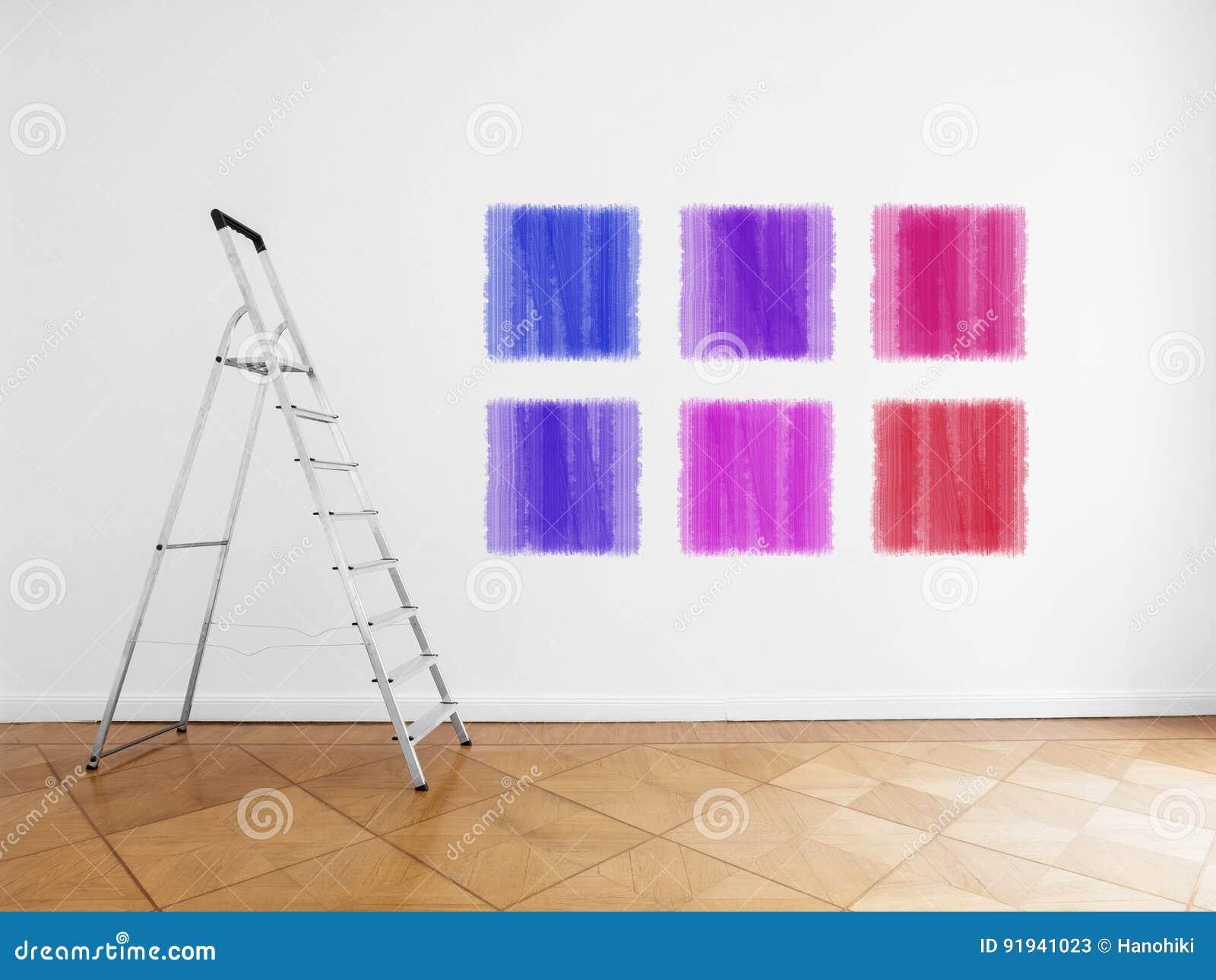 Escada Na Sala Vazia Parede Branca Com As Amostras Coloridas Da  -> Sala Branca Com Parede Colorida