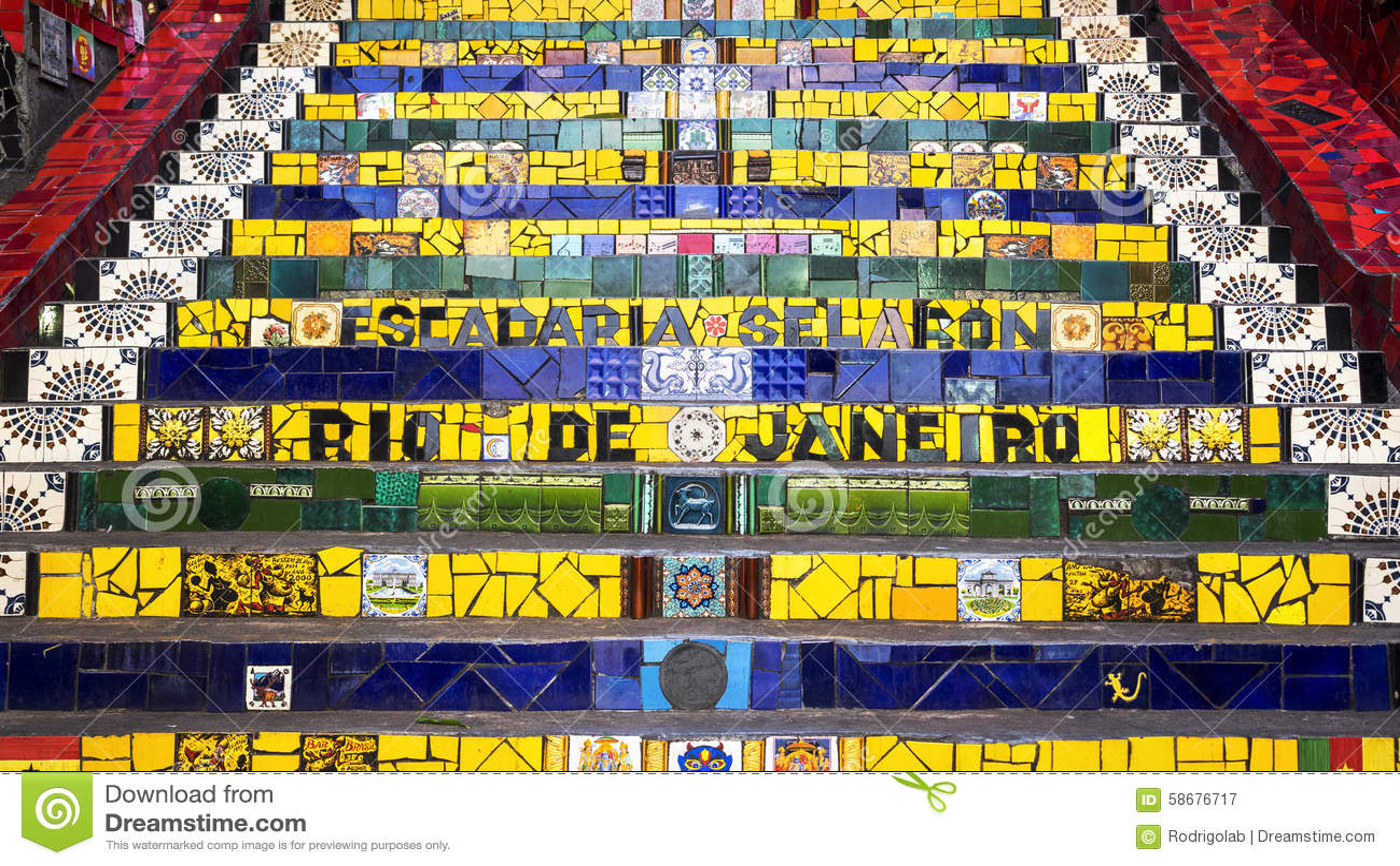 Download Escadaria Selaron, Or Lapa Steps, In Rio De Janeiro, Brazil Stock Image - Image of famous, blue: 58676717
