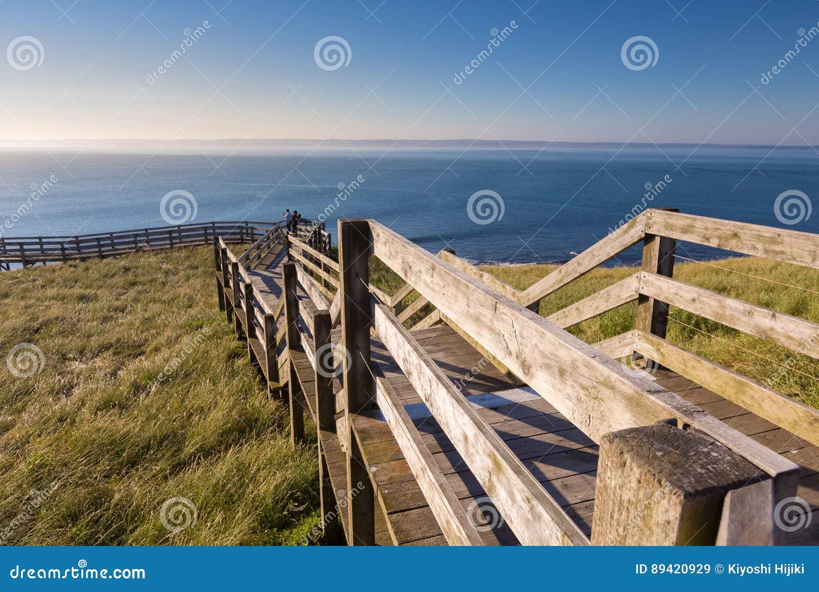 Escadas de madeira à praia de Ventnor