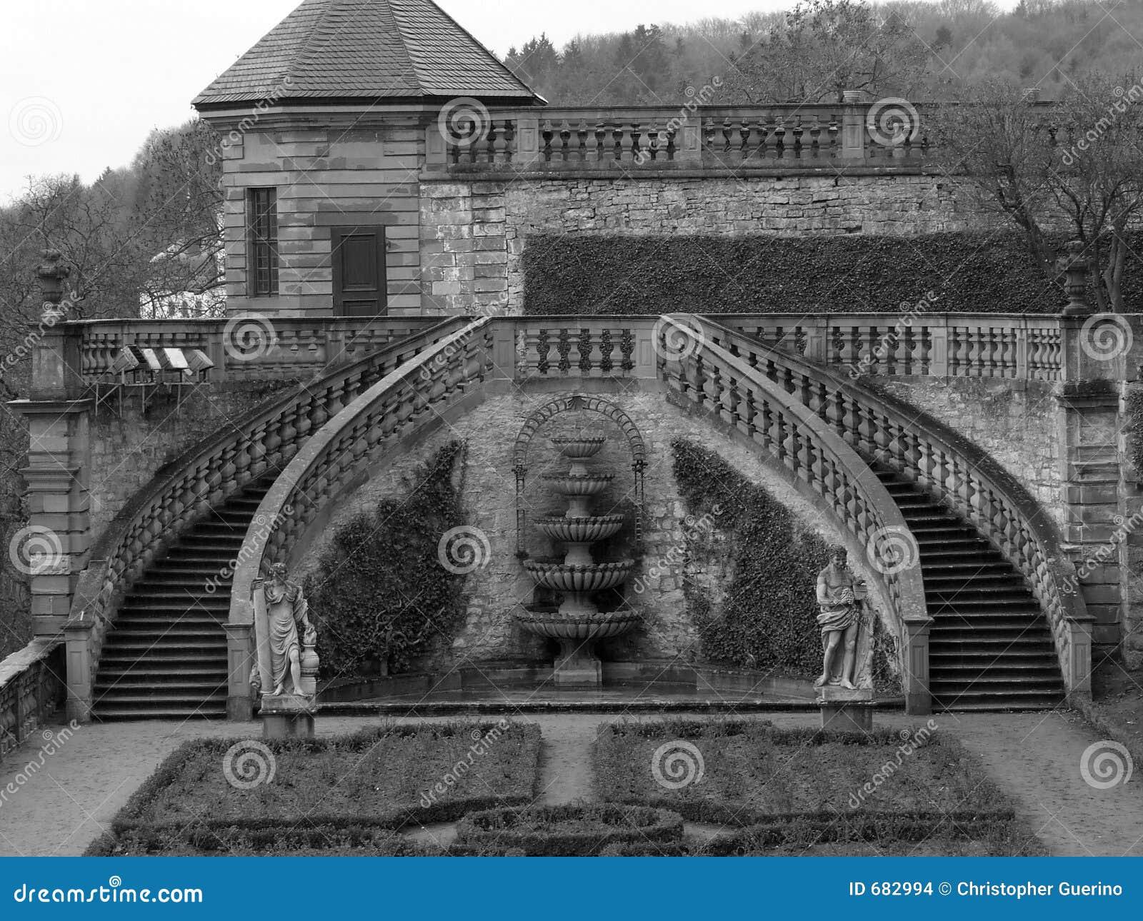 escada de pedra no jardim:Escadas de pedra consideravelmente simétricas no jardim do castelo de