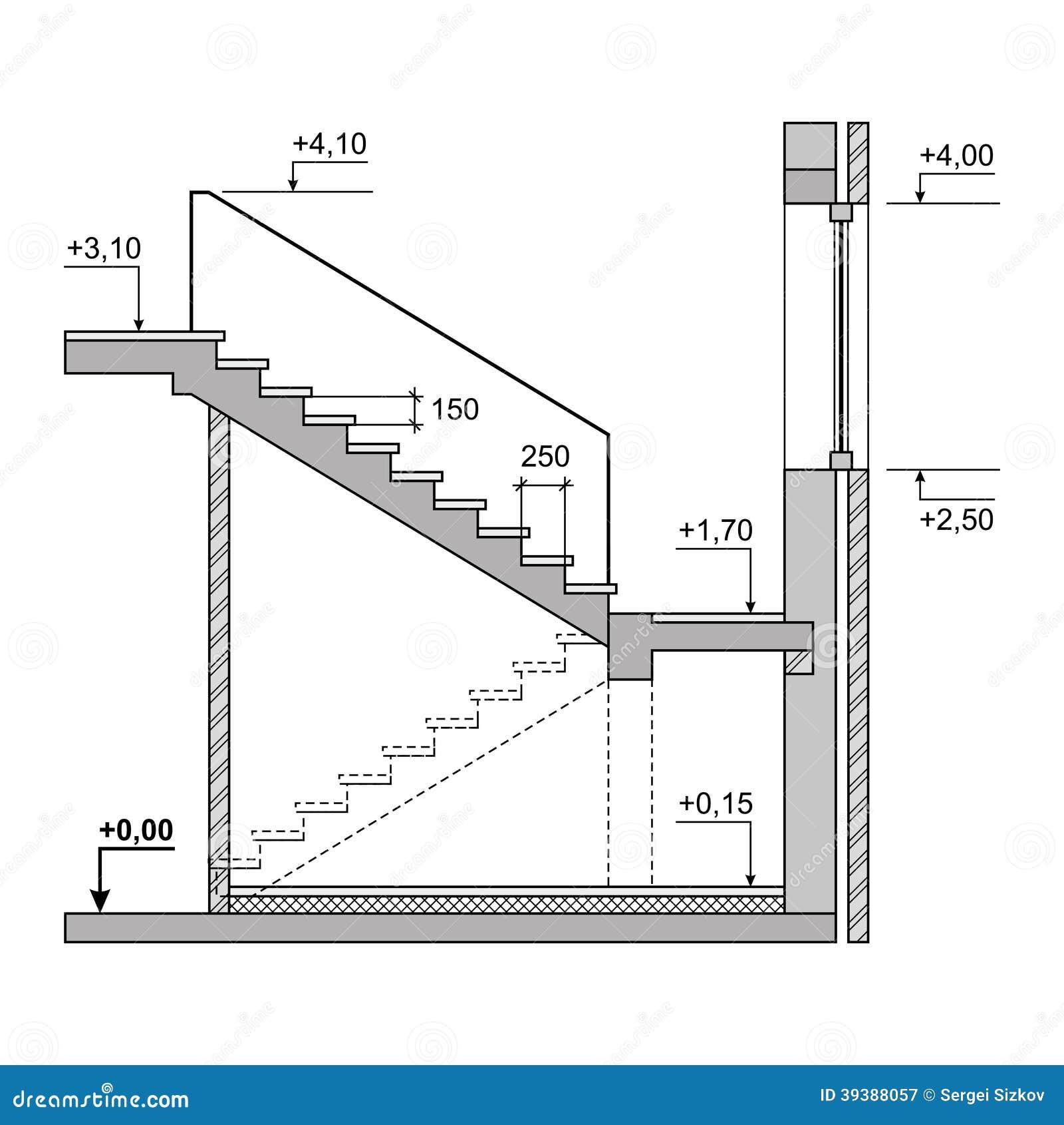 Draw Floor Plan To Scale Escadas Do Projeto Do Esbo 231 O No Fundo Branco Vetor