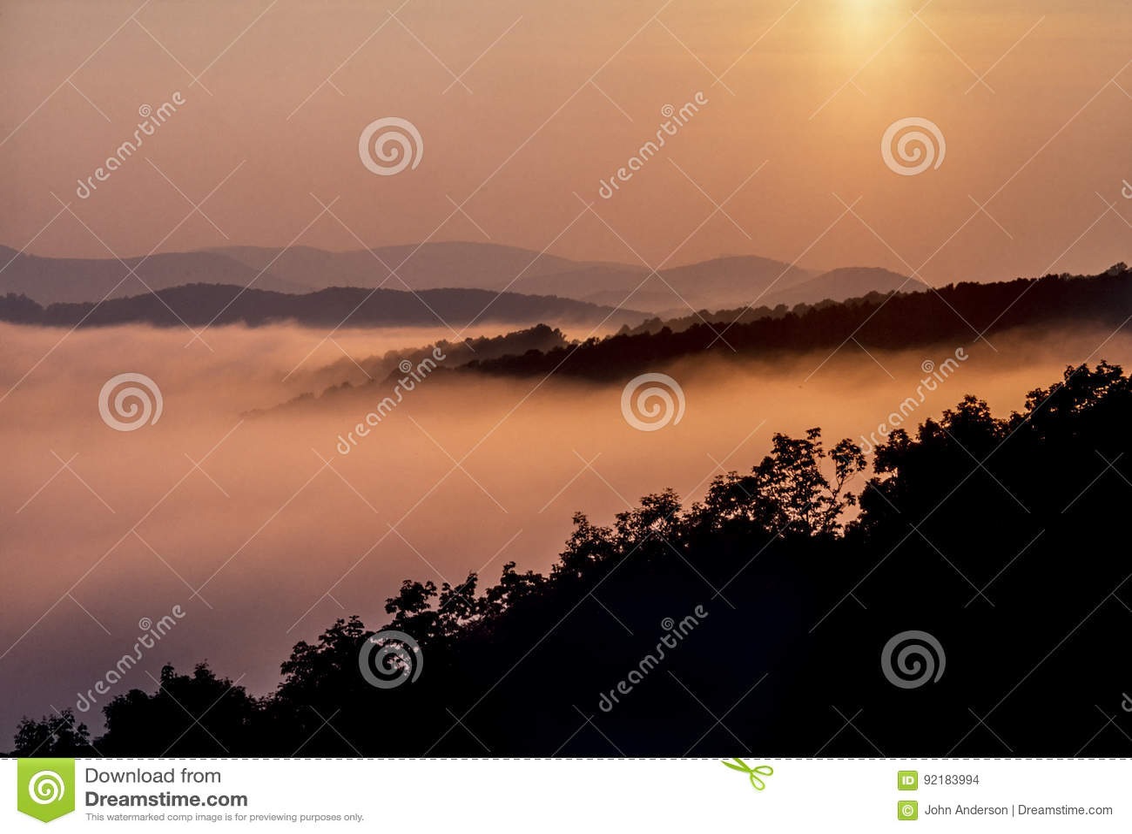 Escala azul de Ridge Mountains Appalachian Mountains
