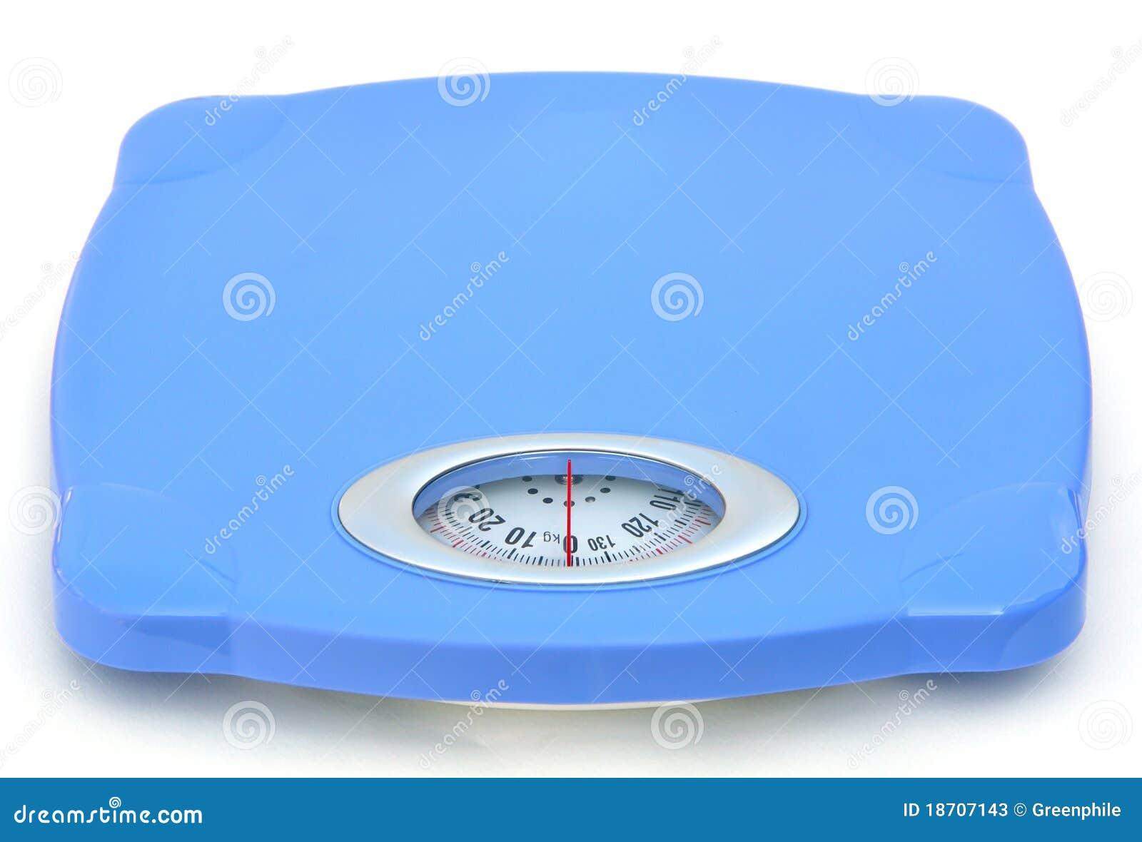 Escala azul dulce del peso del cuarto de baño