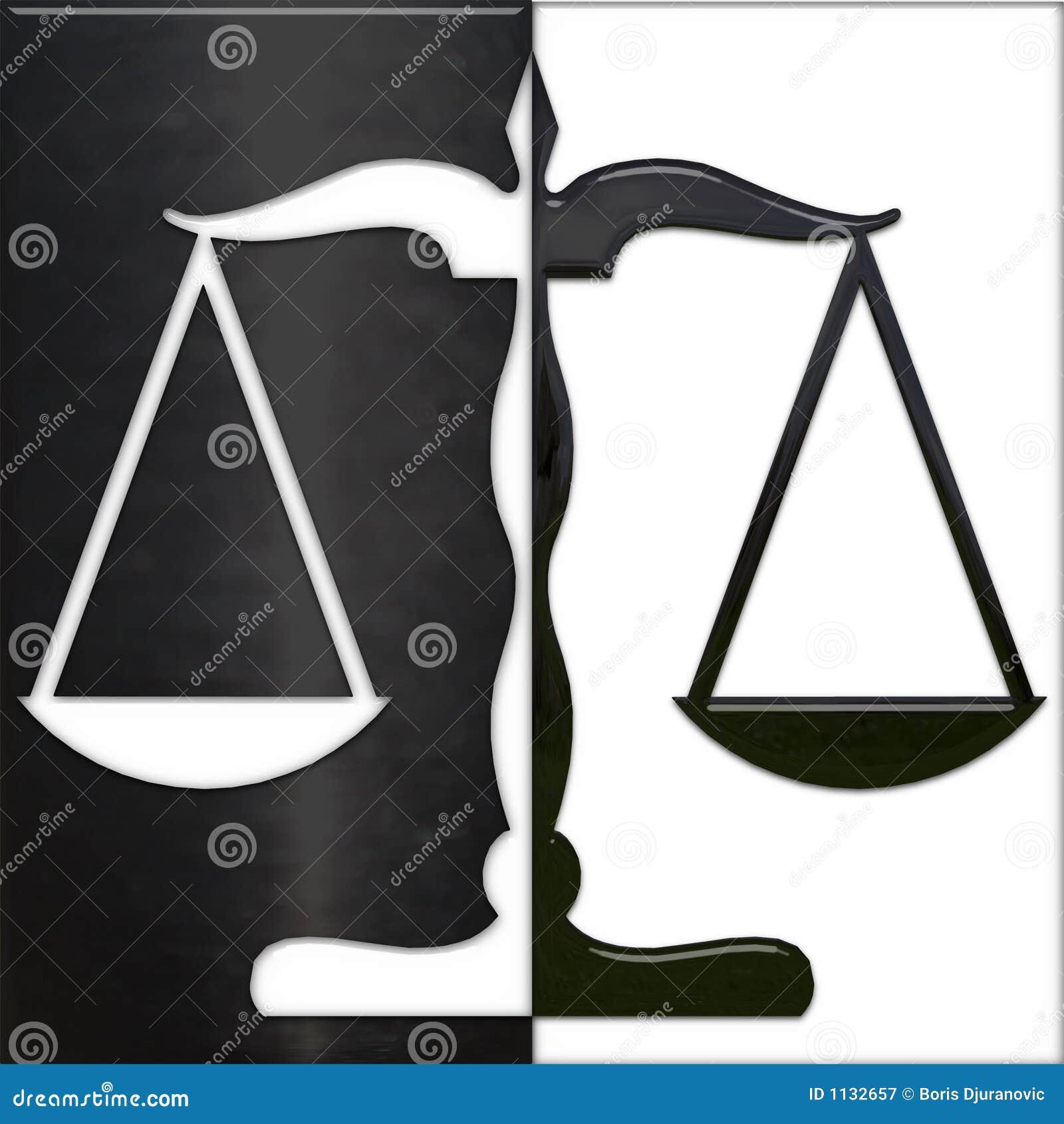 Escala de la justicia blanco y negro