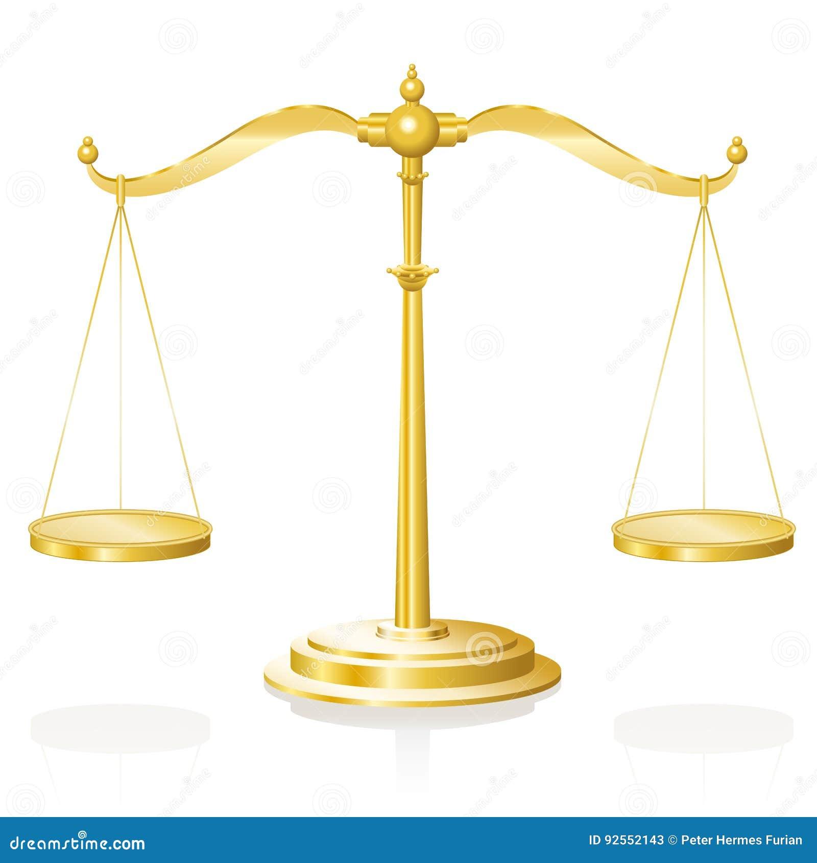 Escala do equilíbrio que pesa o ouro do dispositivo